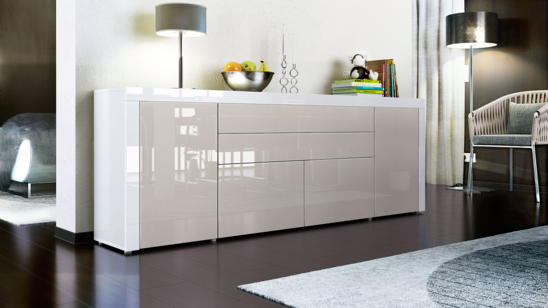 sideboard kommode anrichte highboard la paz v2 in wei hochglanz naturt ne ebay. Black Bedroom Furniture Sets. Home Design Ideas