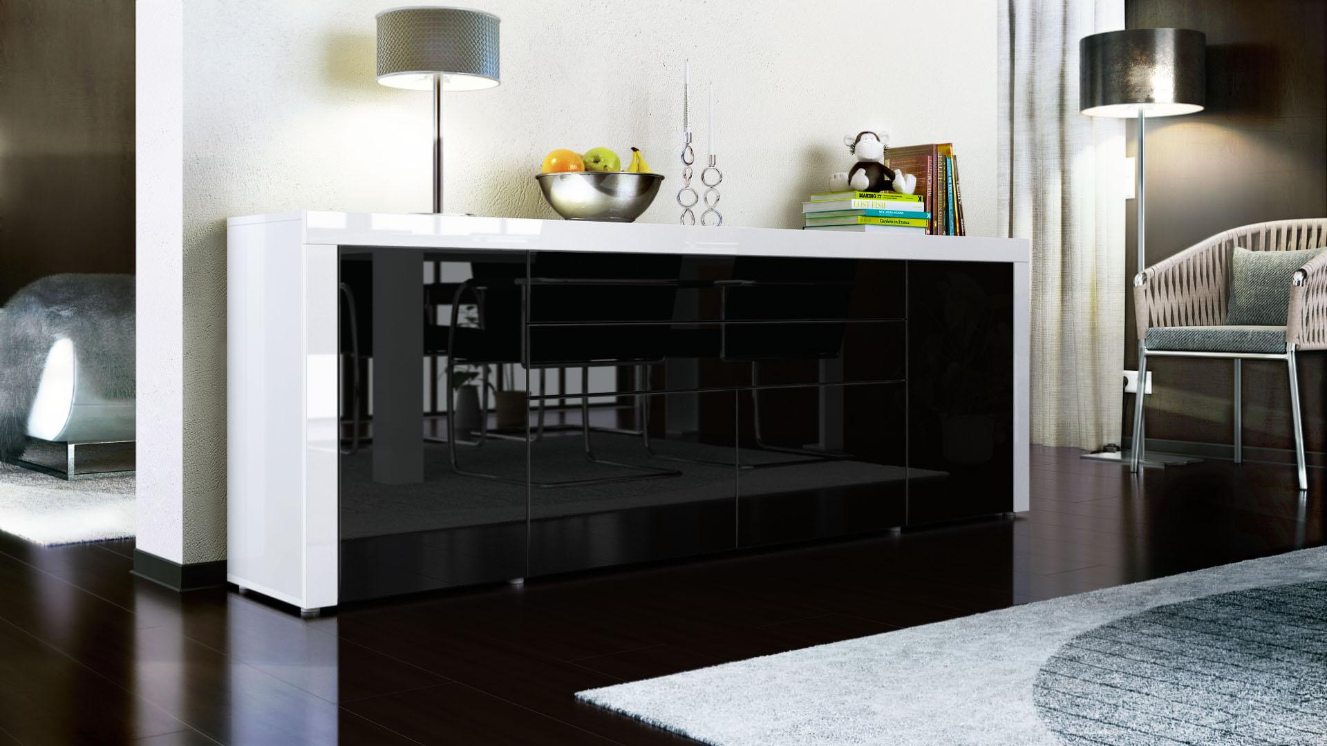 sideboard cabinet chest of drawers la paz v2 white high. Black Bedroom Furniture Sets. Home Design Ideas