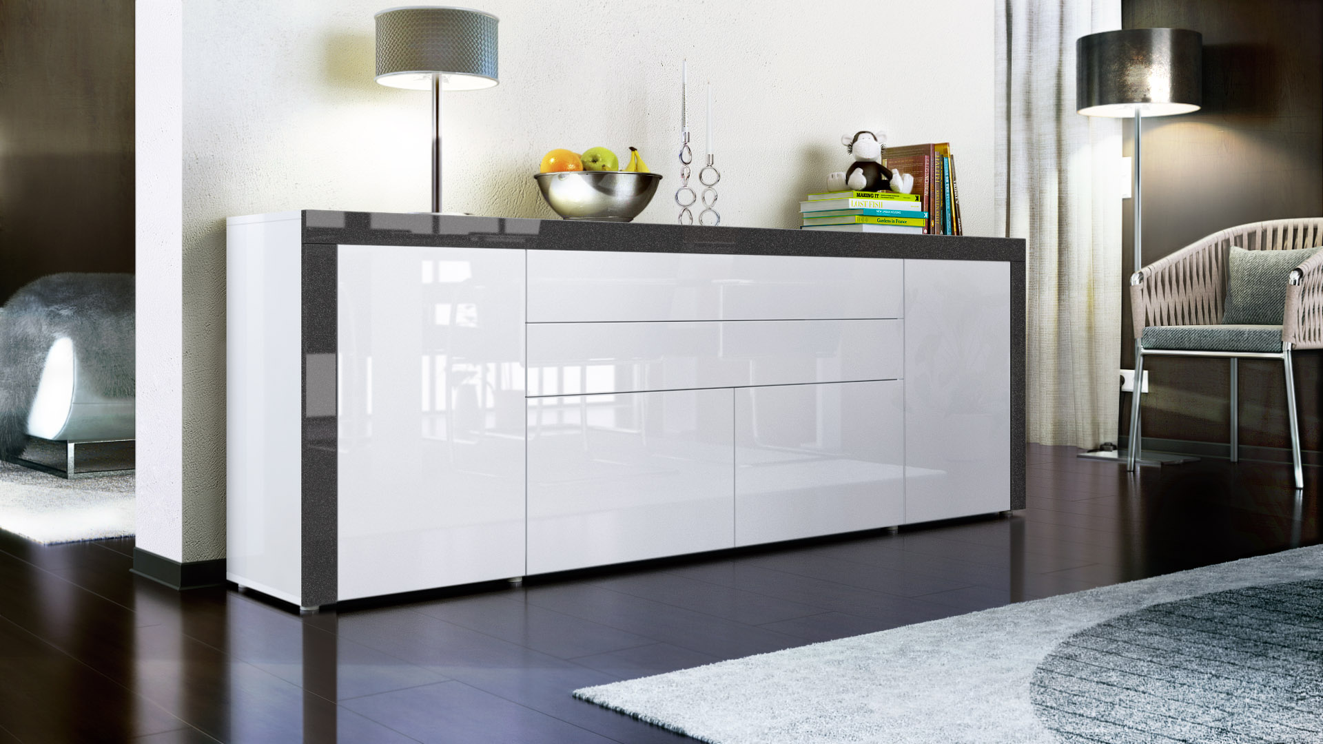 sideboard kommode anrichte highboard la paz v2 in wei. Black Bedroom Furniture Sets. Home Design Ideas