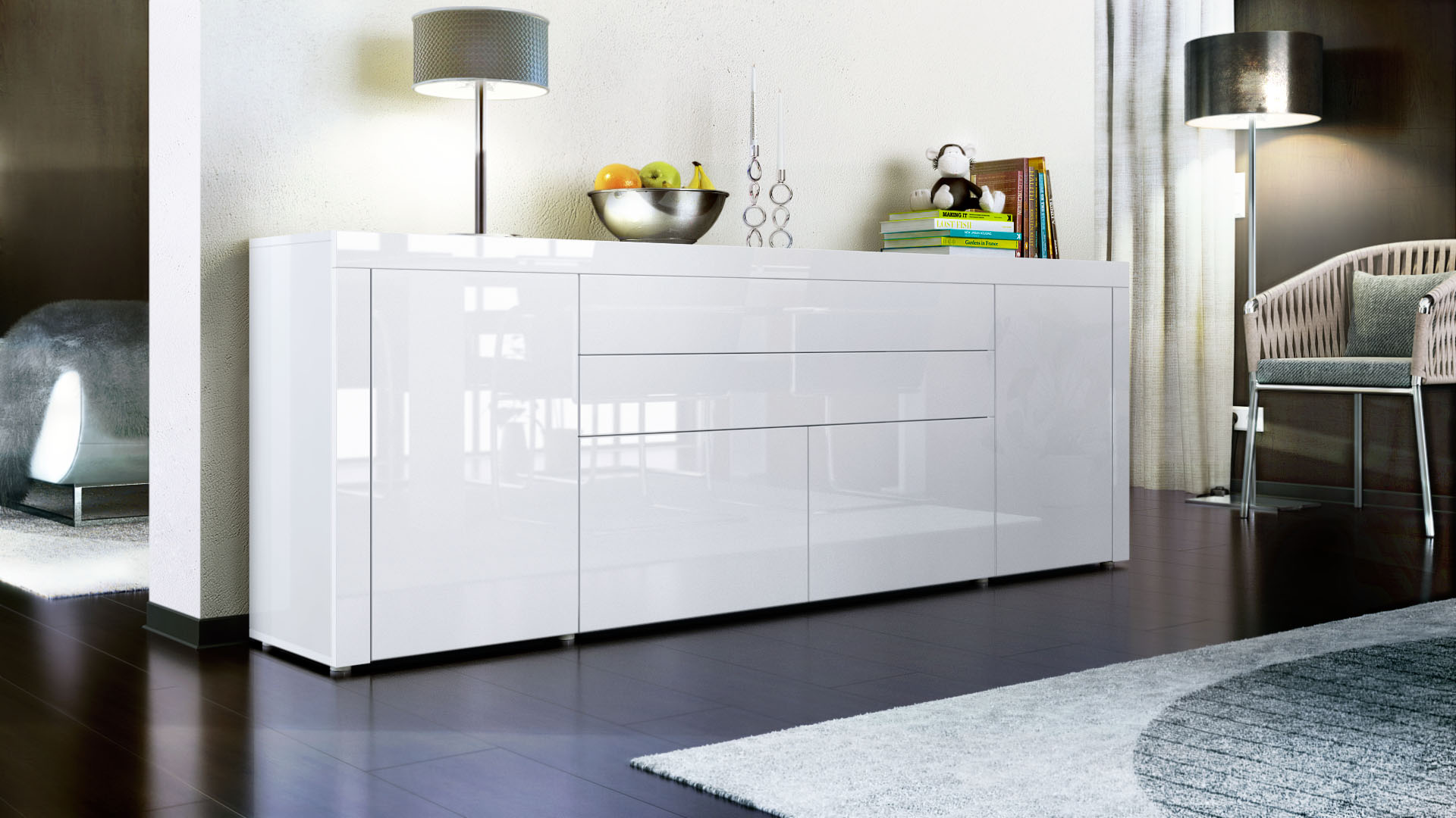 sideboard cabinet chest of drawers la paz v2 white high. Black Bedroom Furniture Sets. Home Design Ideas