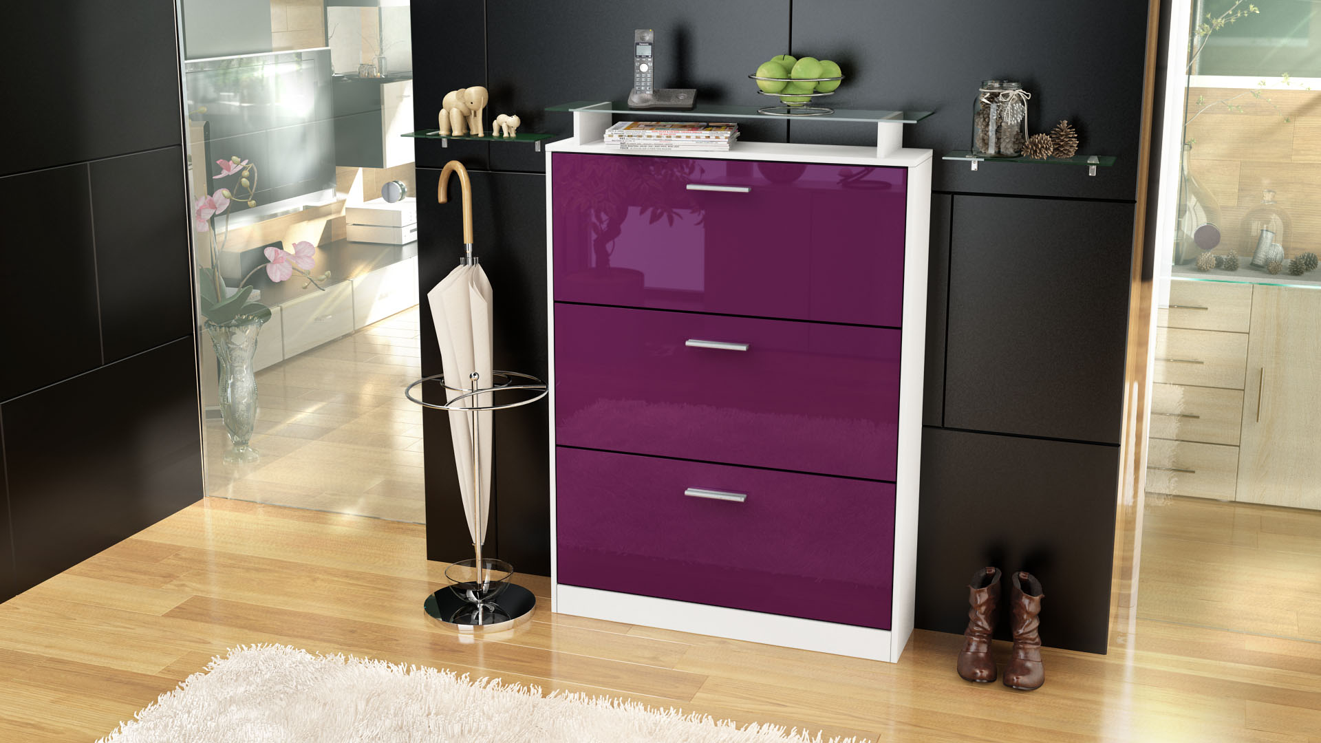 schuhschrank schuhkipper diele flur schrank lavia wei. Black Bedroom Furniture Sets. Home Design Ideas