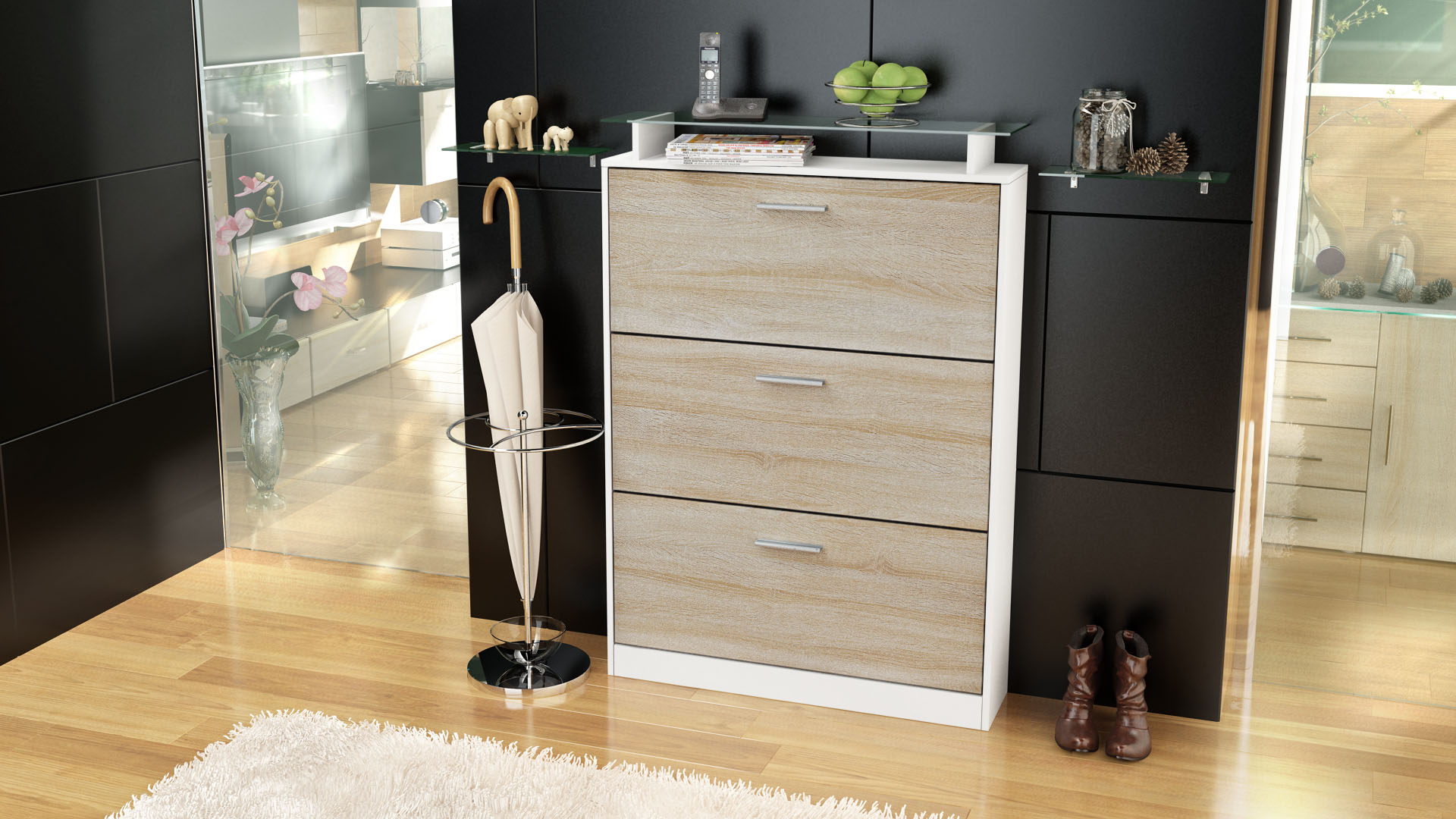 schuhschrank schuhkipper diele flur schrank lavia wei hochglanz naturt ne ebay. Black Bedroom Furniture Sets. Home Design Ideas