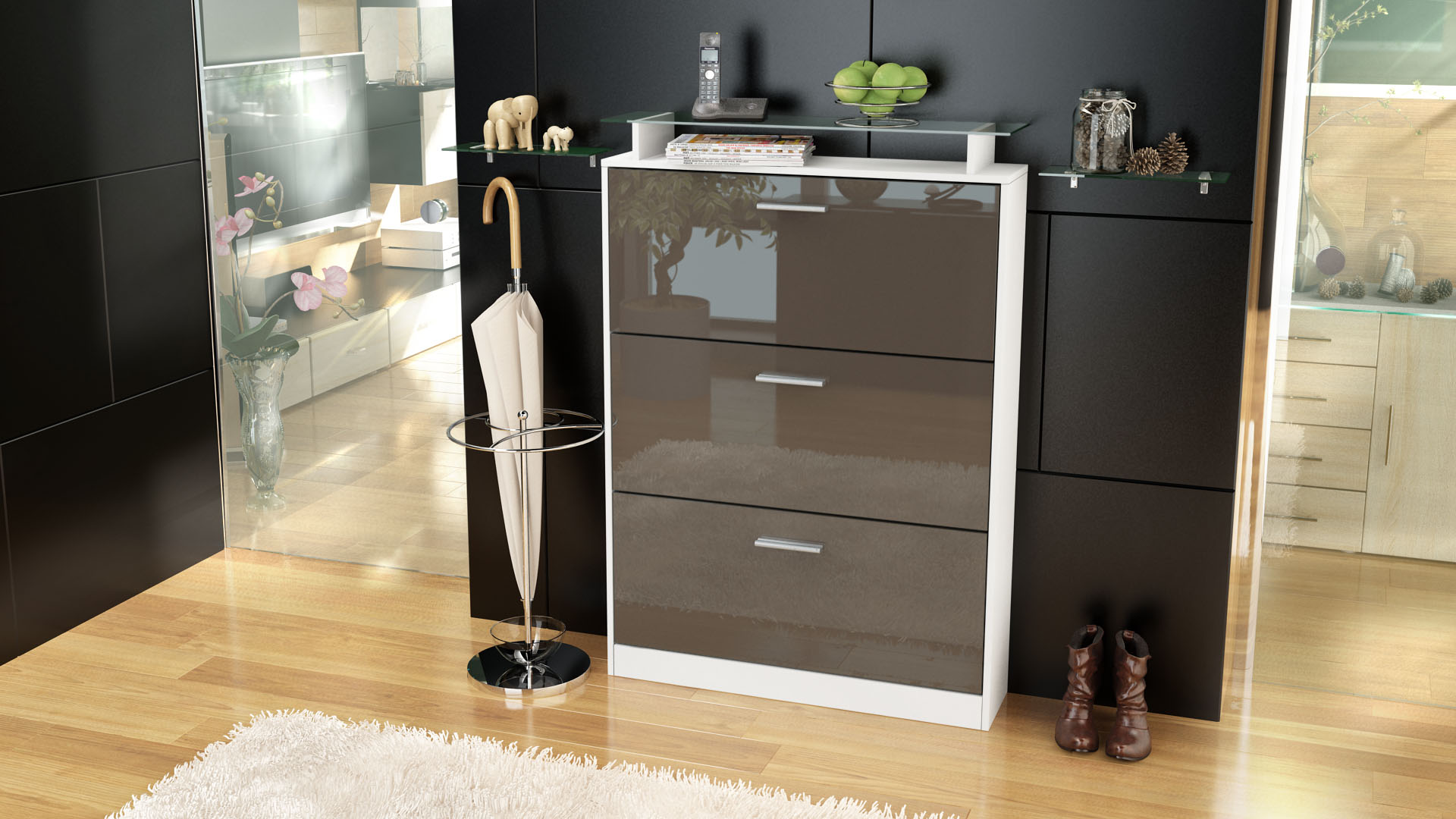 schuhschrank schuhkipper diele flur schrank lavia wei hochglanz naturt ne ebay. Black Bedroom Furniture Sets. Home Design Ideas