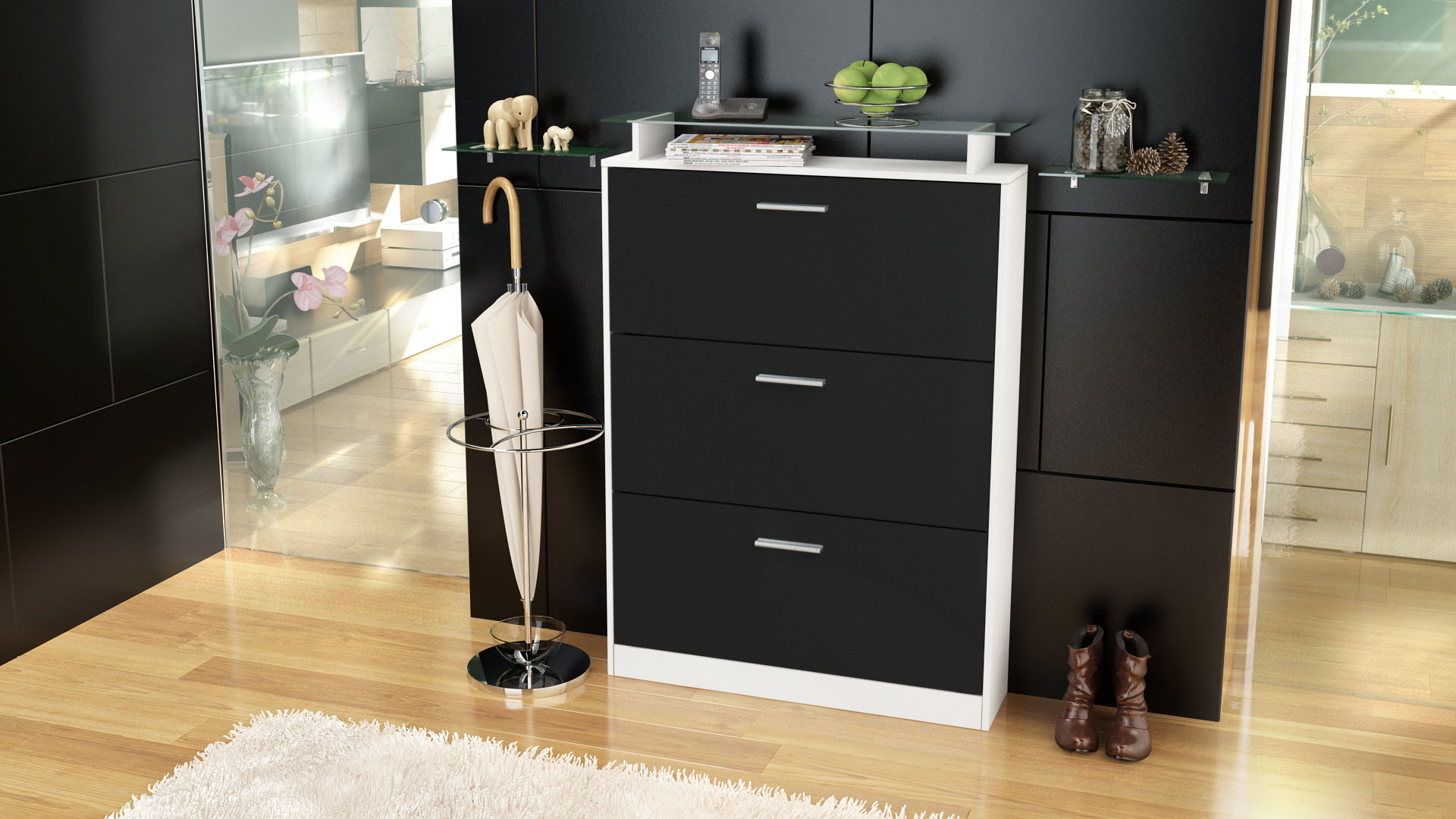 schuhschrank schuhkipper diele flur schrank lavia wei hochglanz naturt ne. Black Bedroom Furniture Sets. Home Design Ideas