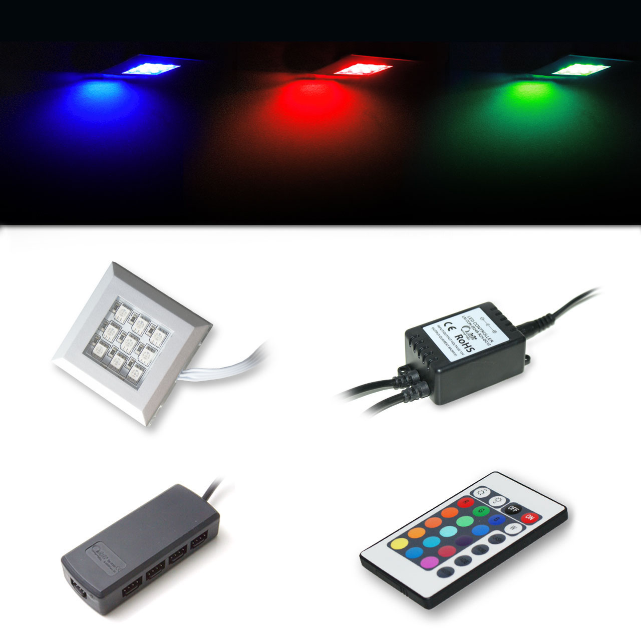 led rgb down light spot furniture lights set remote control rgb multicolor ebay. Black Bedroom Furniture Sets. Home Design Ideas