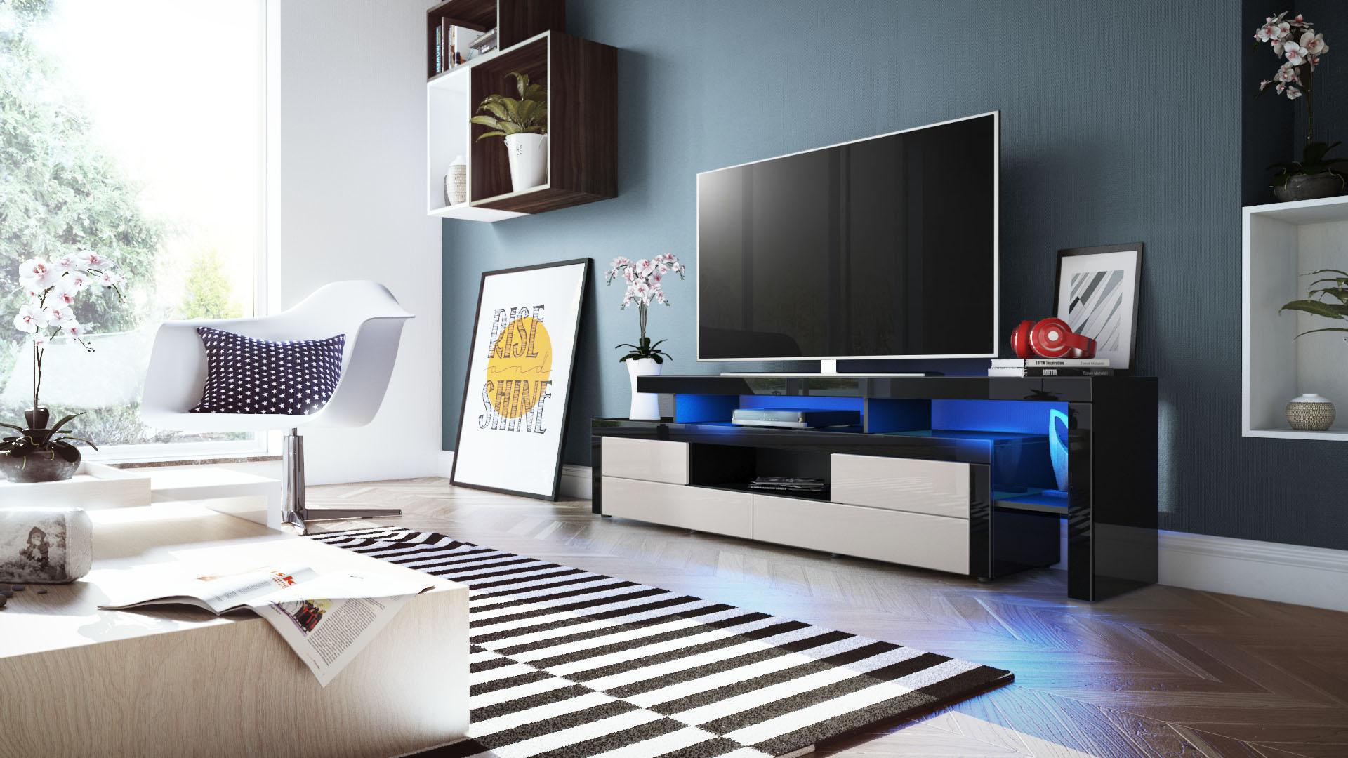 tv lowboard board schrank fernsehtisch leon in schwarz. Black Bedroom Furniture Sets. Home Design Ideas