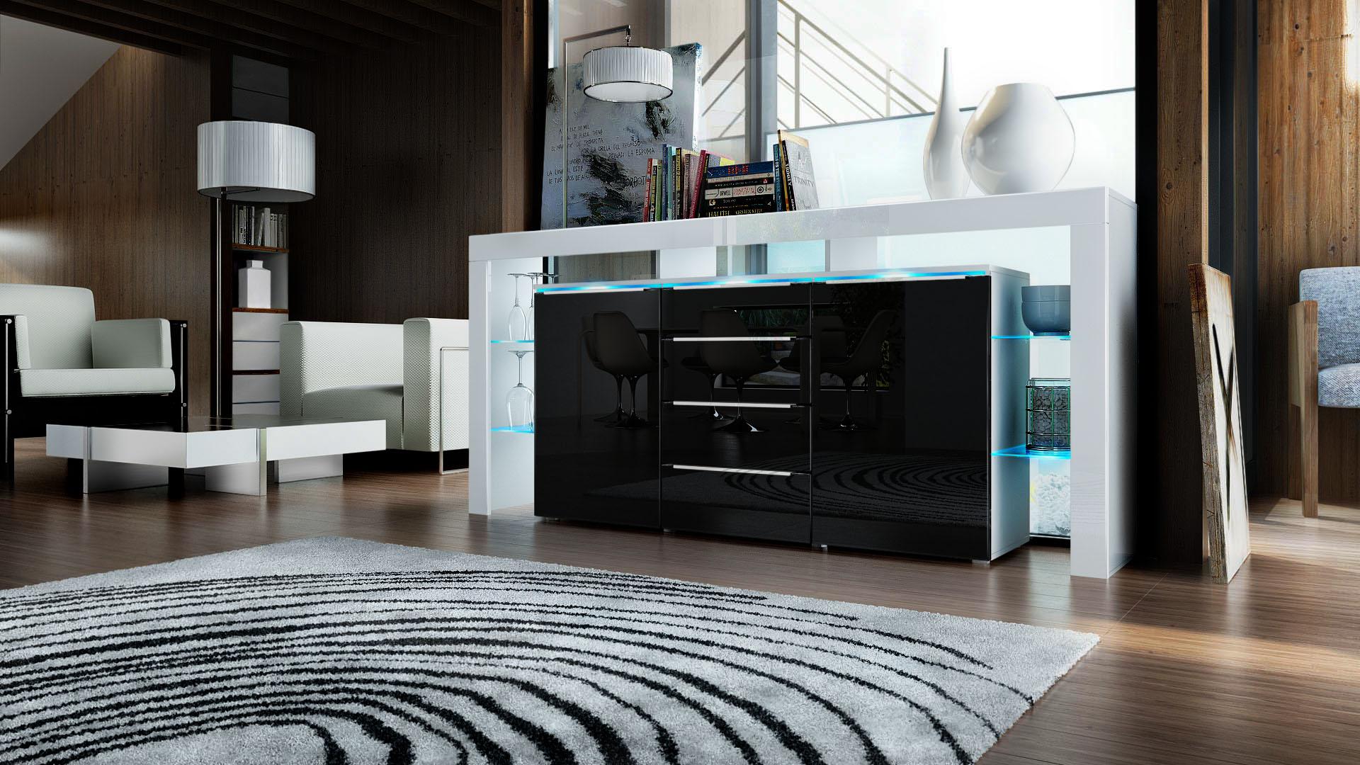 sideboard chest of drawers led lima nova white high. Black Bedroom Furniture Sets. Home Design Ideas