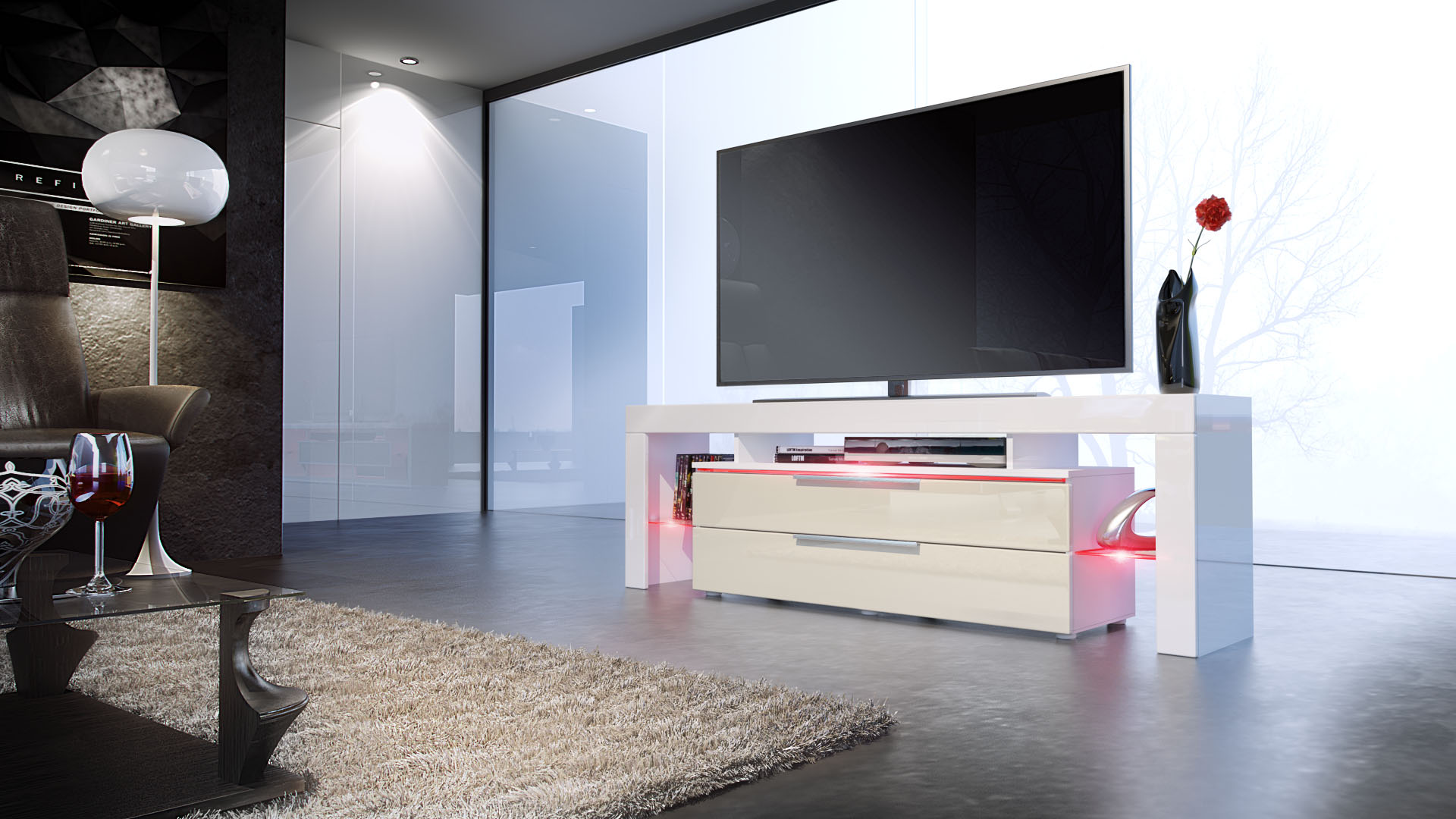 tv lowboard board schrank tisch m bel lima nova in wei hochglanz naturt ne ebay. Black Bedroom Furniture Sets. Home Design Ideas