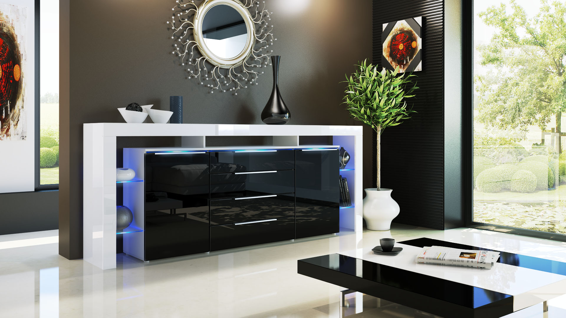 sideboard tv board anrichte kommode lima nova v2 in wei. Black Bedroom Furniture Sets. Home Design Ideas