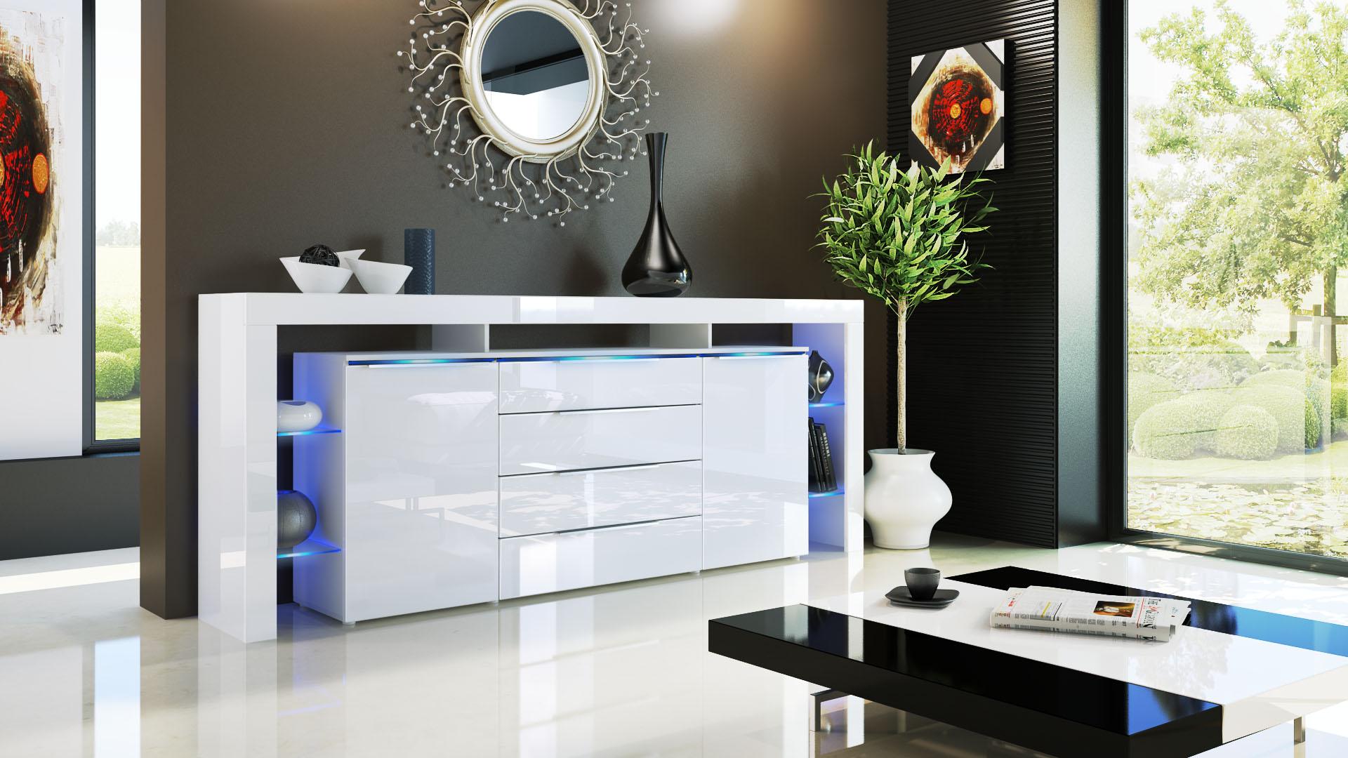 sideboard tv board anrichte kommode lima nova v2 in wei. Black Bedroom Furniture Sets. Home Design Ideas