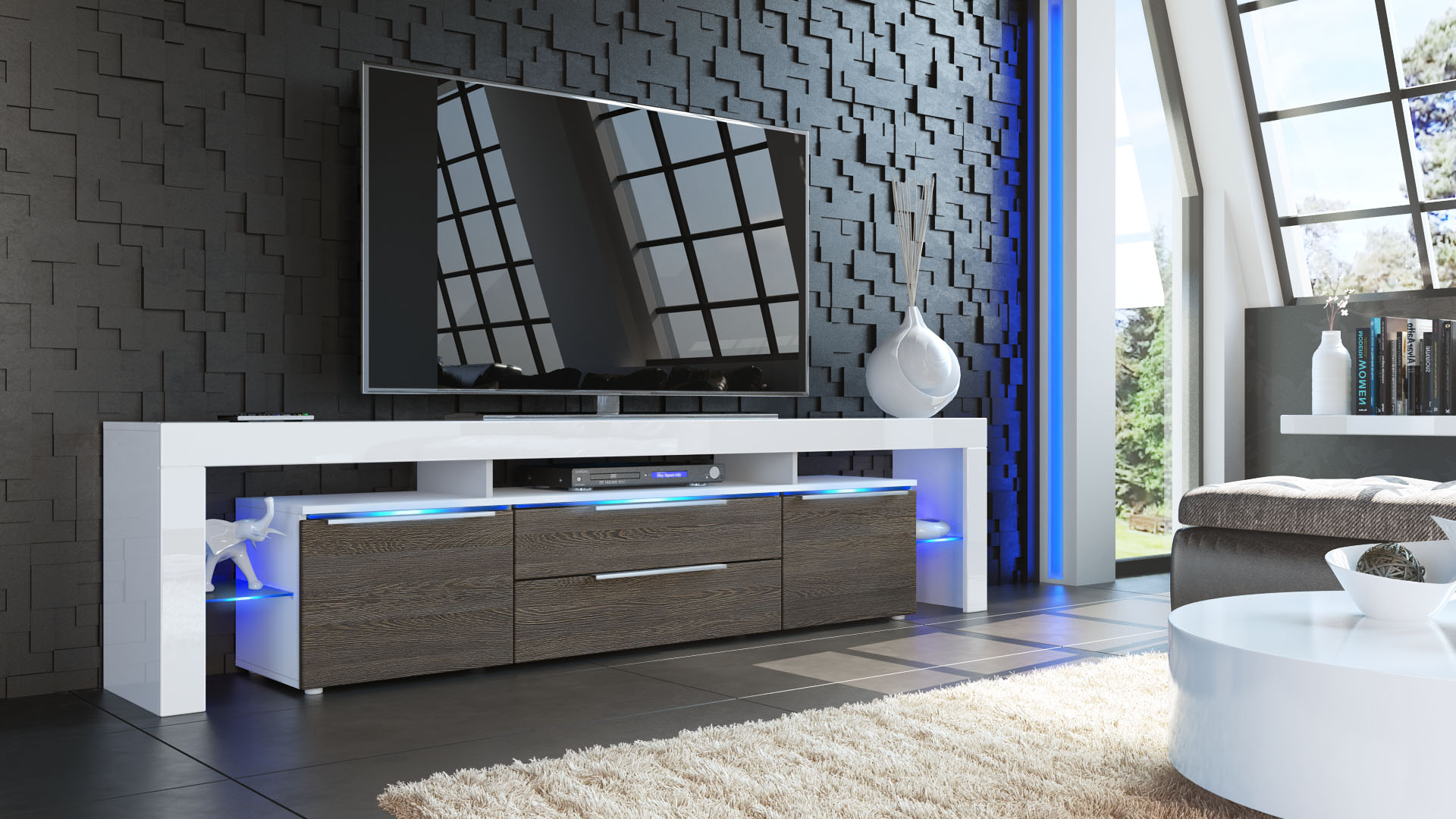 TV Lowboard Board Schrank Tisch Möbel Lima Nova V2 Weiß  -> Tv Lowboard Lima