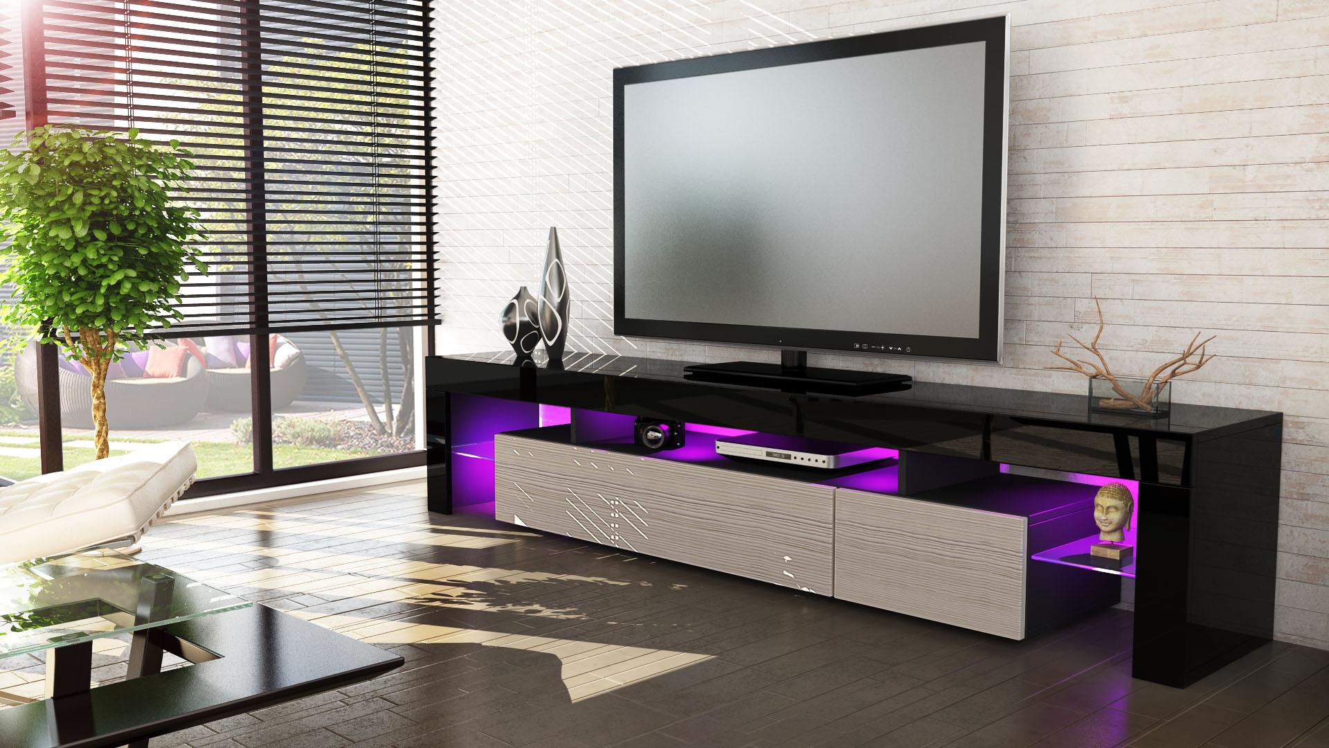 tv lowboard board schrank tisch m bel lima v2 in schwarz hochglanz. Black Bedroom Furniture Sets. Home Design Ideas