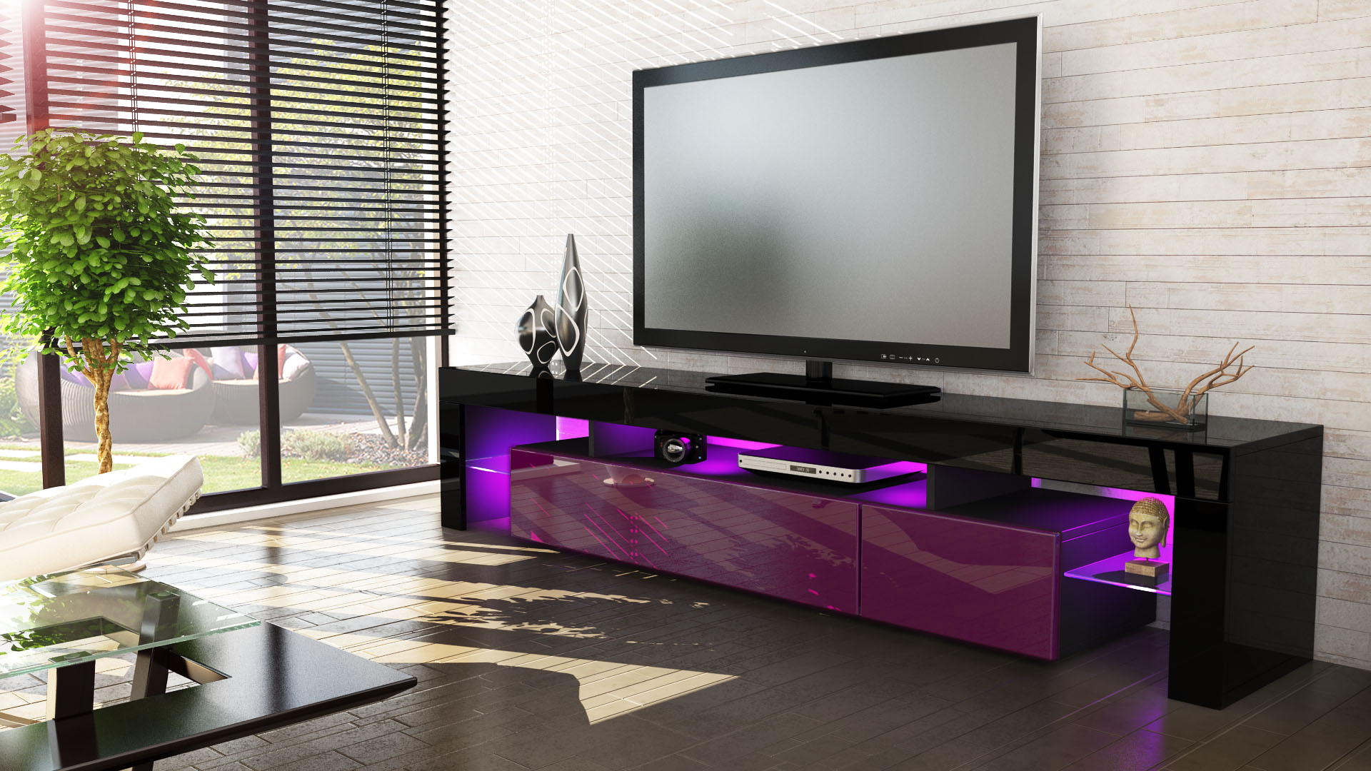 tv stand unit board lowboard cabinet lima v2 black high. Black Bedroom Furniture Sets. Home Design Ideas