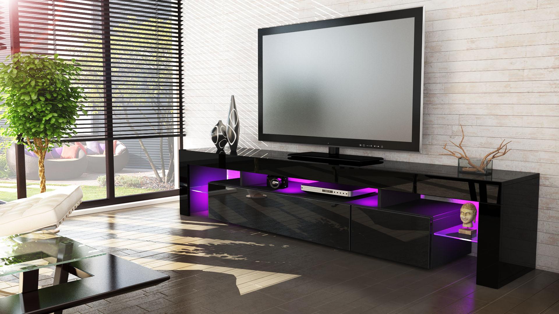 tv stand unit board lowboard cabinet lima v2 black high. Black Bedroom Furniture Sets. Home Design Ideas