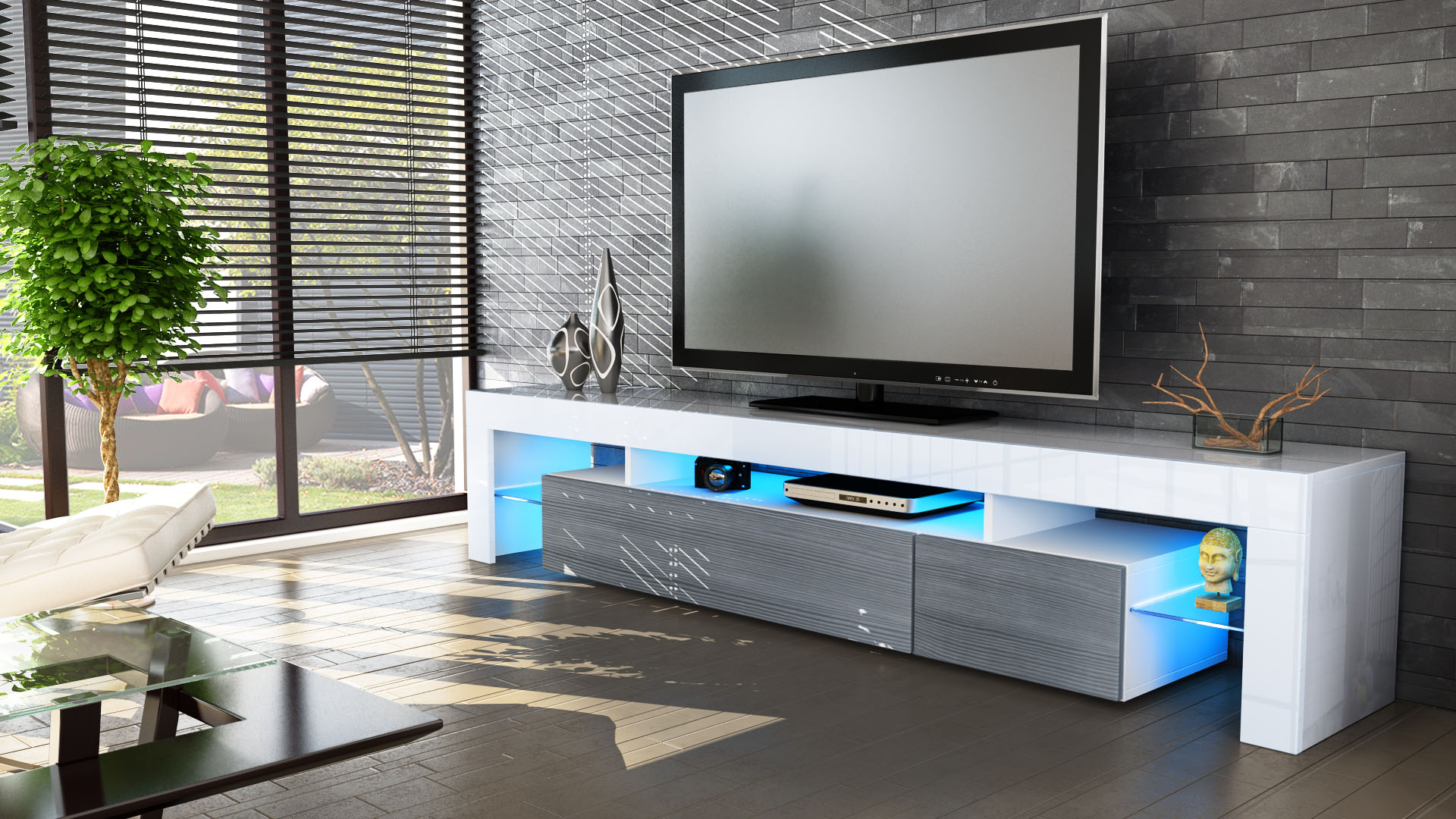 TV Stand Unit Board Lowboard Cabinet Lima V2 White  High Gloss & Natural -> Meuble Tv À Led Avec Baffle