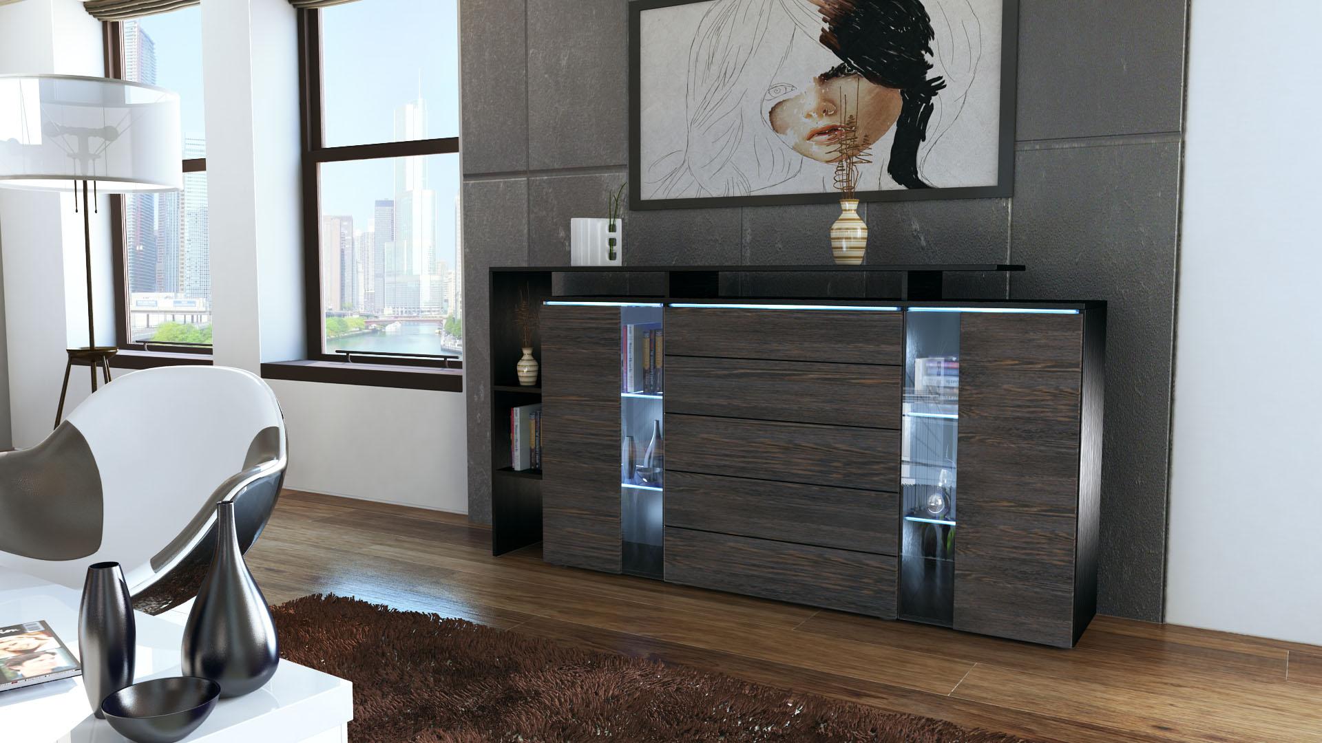 highboard sideboard schrank kommode lissabon schwarz hochglanz naturfarben ebay. Black Bedroom Furniture Sets. Home Design Ideas