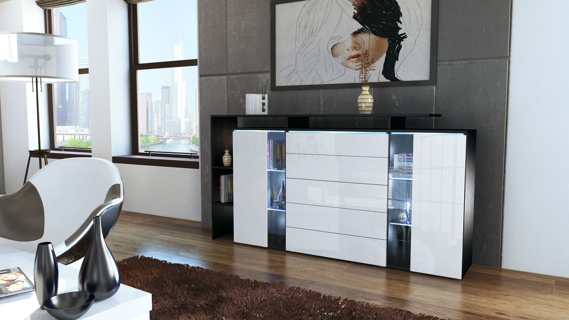 highboard sideboard schrank kommode lissabon schwarz. Black Bedroom Furniture Sets. Home Design Ideas