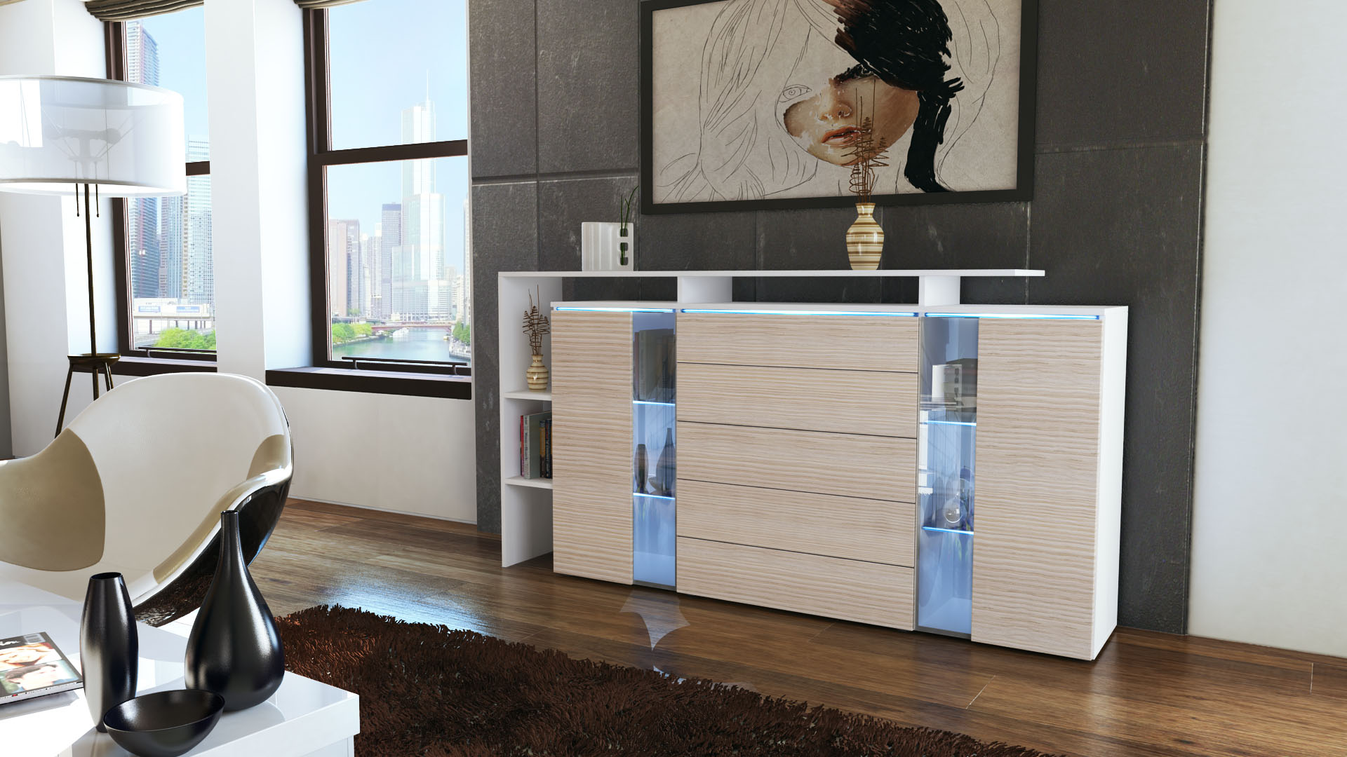 highboard sideboard schrank kommode lissabon wei hochglanz naturfarben ebay. Black Bedroom Furniture Sets. Home Design Ideas