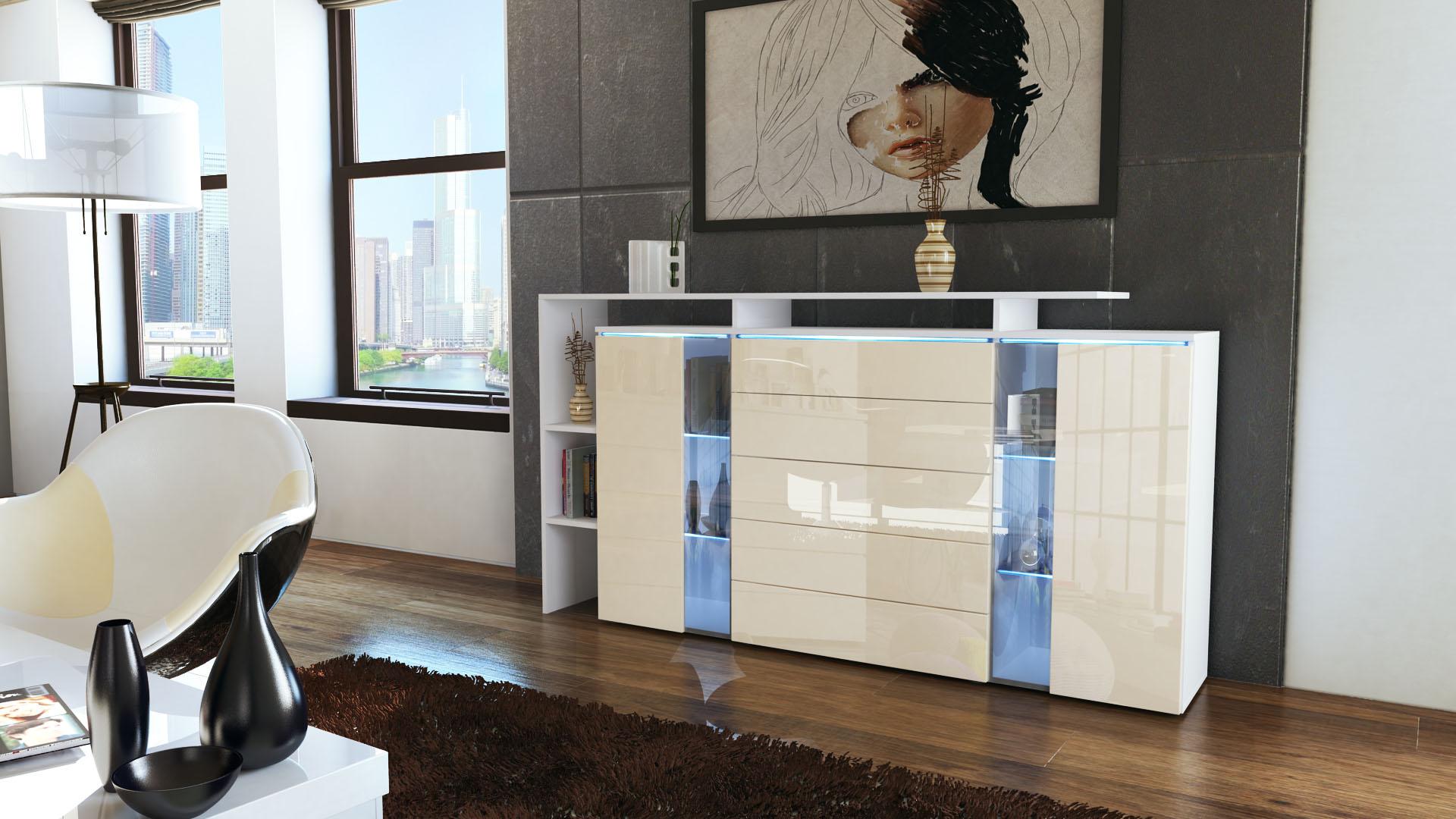 highboard sideboard schrank kommode lissabon wei. Black Bedroom Furniture Sets. Home Design Ideas