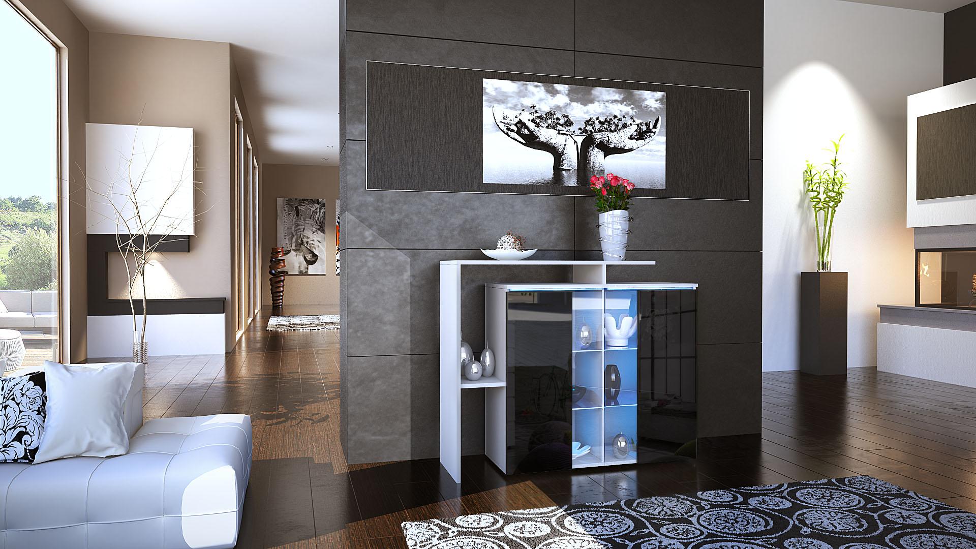 cabinet sideboard cupboard led lissabon white matt high gloss natural tones ebay. Black Bedroom Furniture Sets. Home Design Ideas