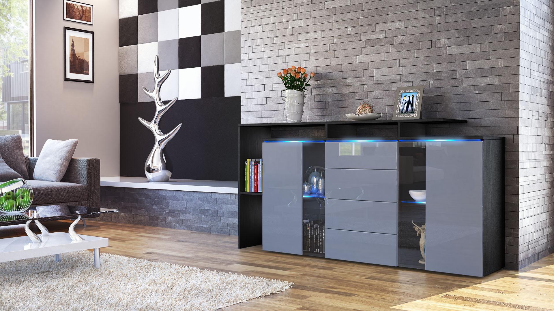 sideboard chest of drawers lissabon black matt high. Black Bedroom Furniture Sets. Home Design Ideas