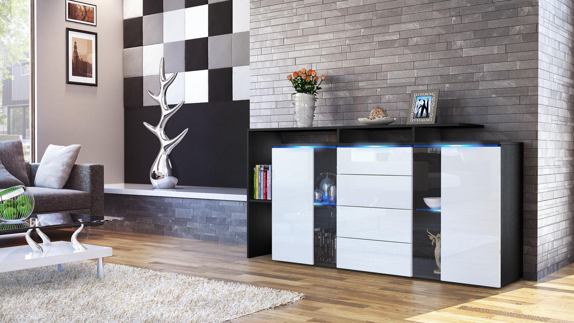 sideboard chest of drawers lissabon black matt high gloss natural tones ebay. Black Bedroom Furniture Sets. Home Design Ideas