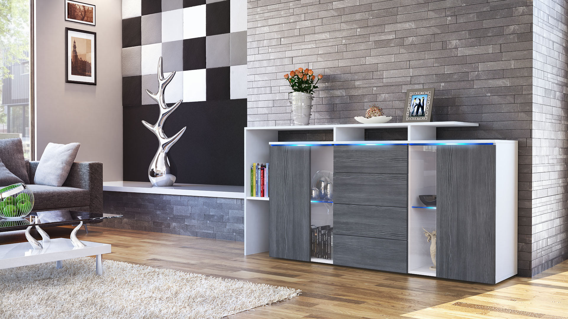 sideboard tv board anrichte kommode lissabon wei in. Black Bedroom Furniture Sets. Home Design Ideas