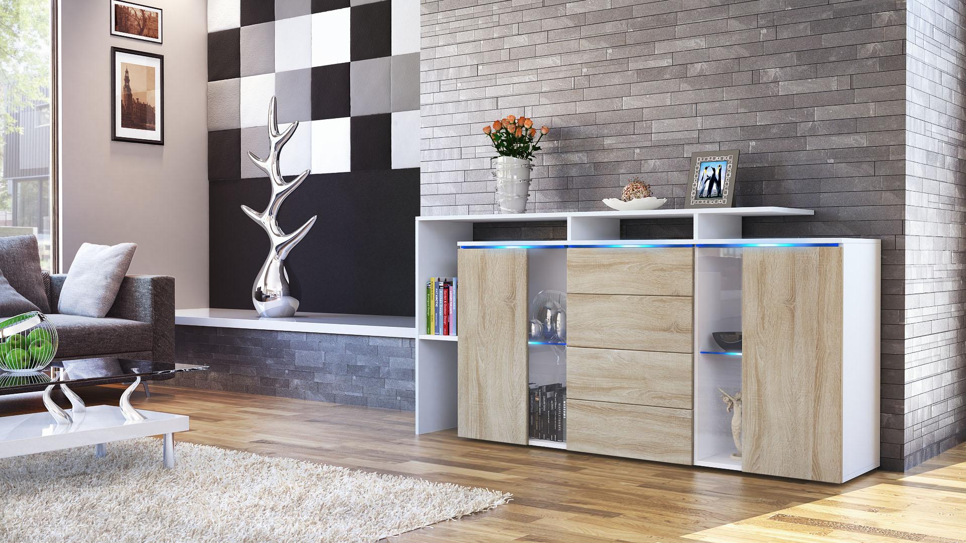 sideboard tv board anrichte kommode lissabon wei in. Black Bedroom Furniture Sets. Home Design Ideas