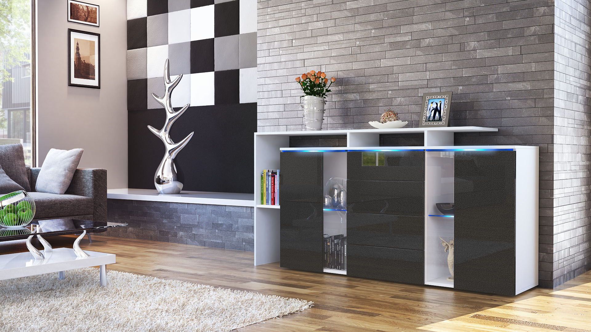 sideboard tv board anrichte kommode lissabon wei in hochglanz naturt nen ebay. Black Bedroom Furniture Sets. Home Design Ideas