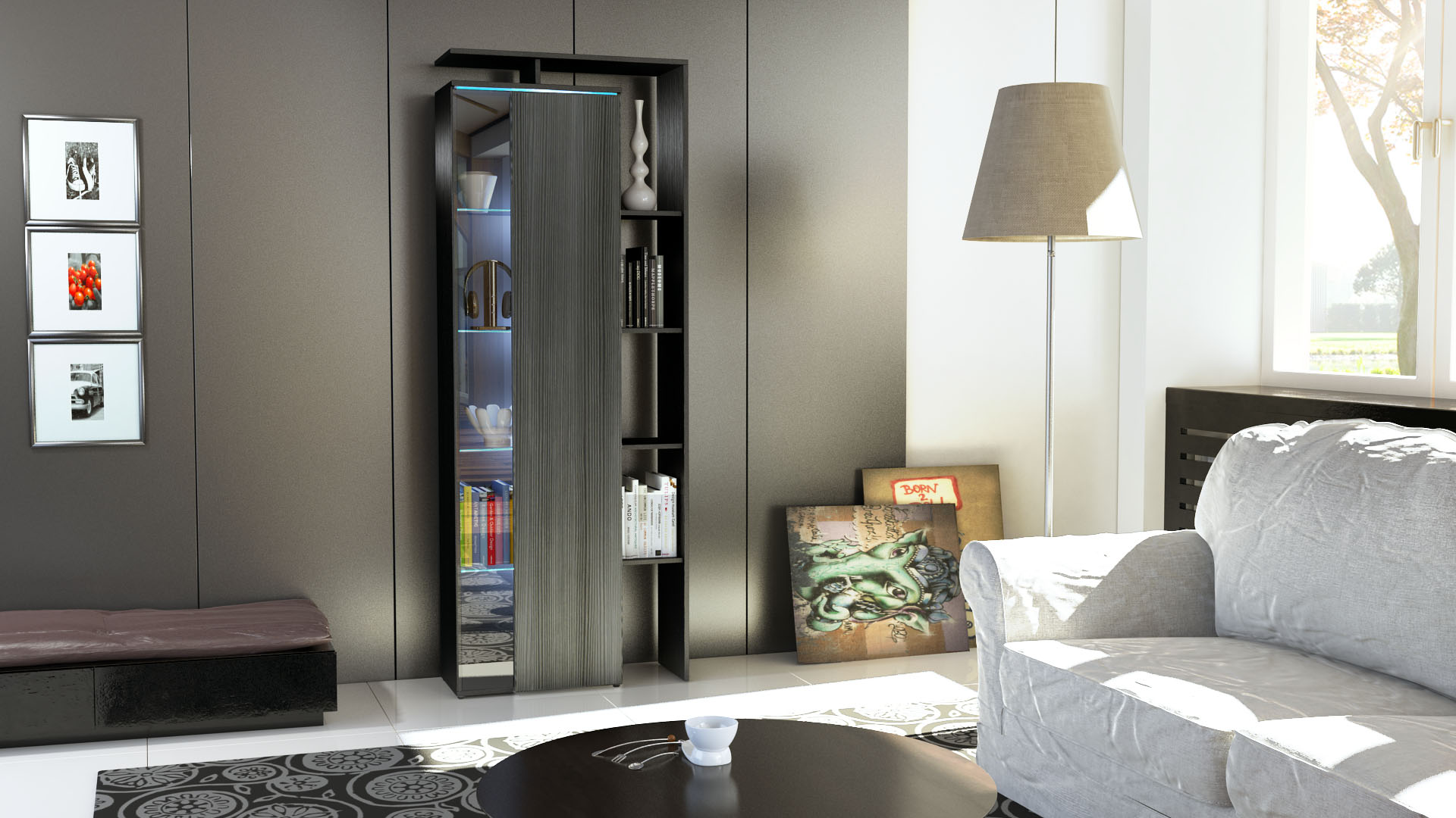 stand vitrine highboard hochschrank lissabon schwarz. Black Bedroom Furniture Sets. Home Design Ideas