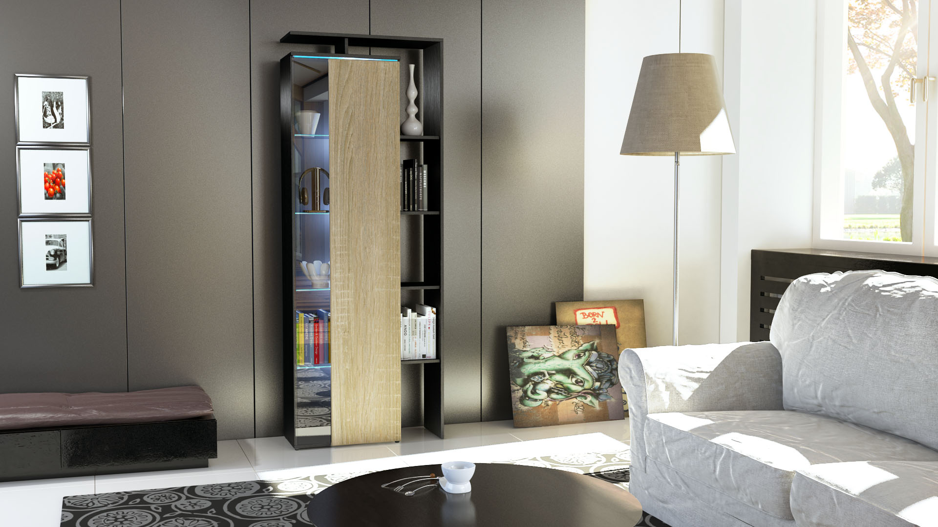 stand vitrine highboard hochschrank lissabon schwarz hochglanz naturt ne ebay. Black Bedroom Furniture Sets. Home Design Ideas