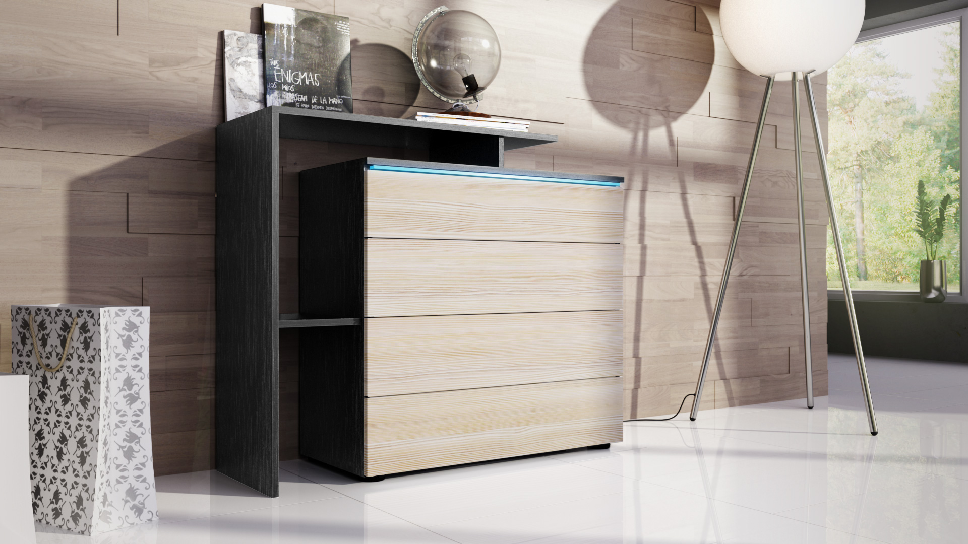 cabinet sideboard cupboard led lissabon v2 black matt high. Black Bedroom Furniture Sets. Home Design Ideas