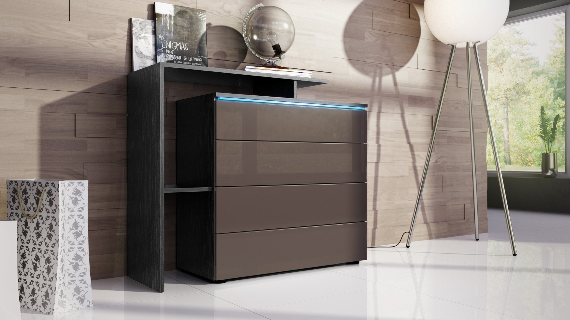 kommode schrank anrichte sideboard lissabon v2 in schwarz. Black Bedroom Furniture Sets. Home Design Ideas