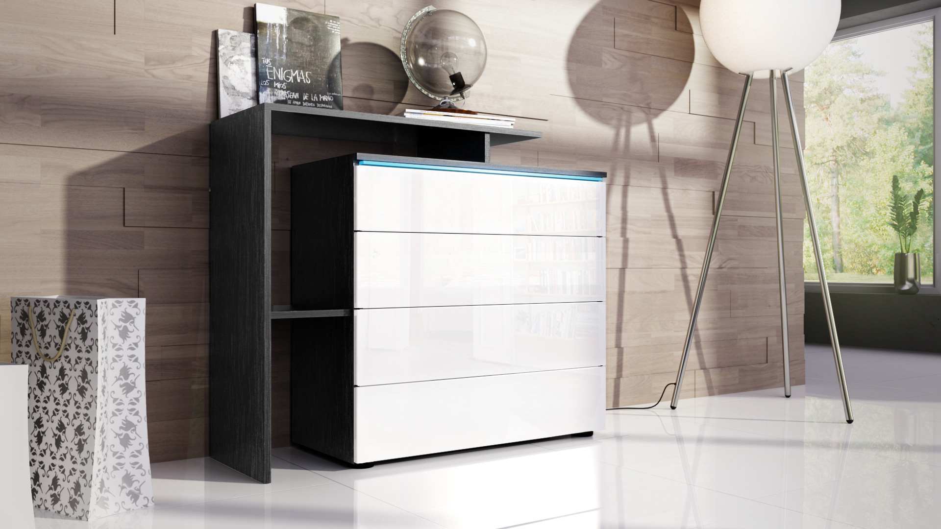 kommode schrank anrichte sideboard lissabon v2 in schwarz hochglanz naturt ne ebay. Black Bedroom Furniture Sets. Home Design Ideas