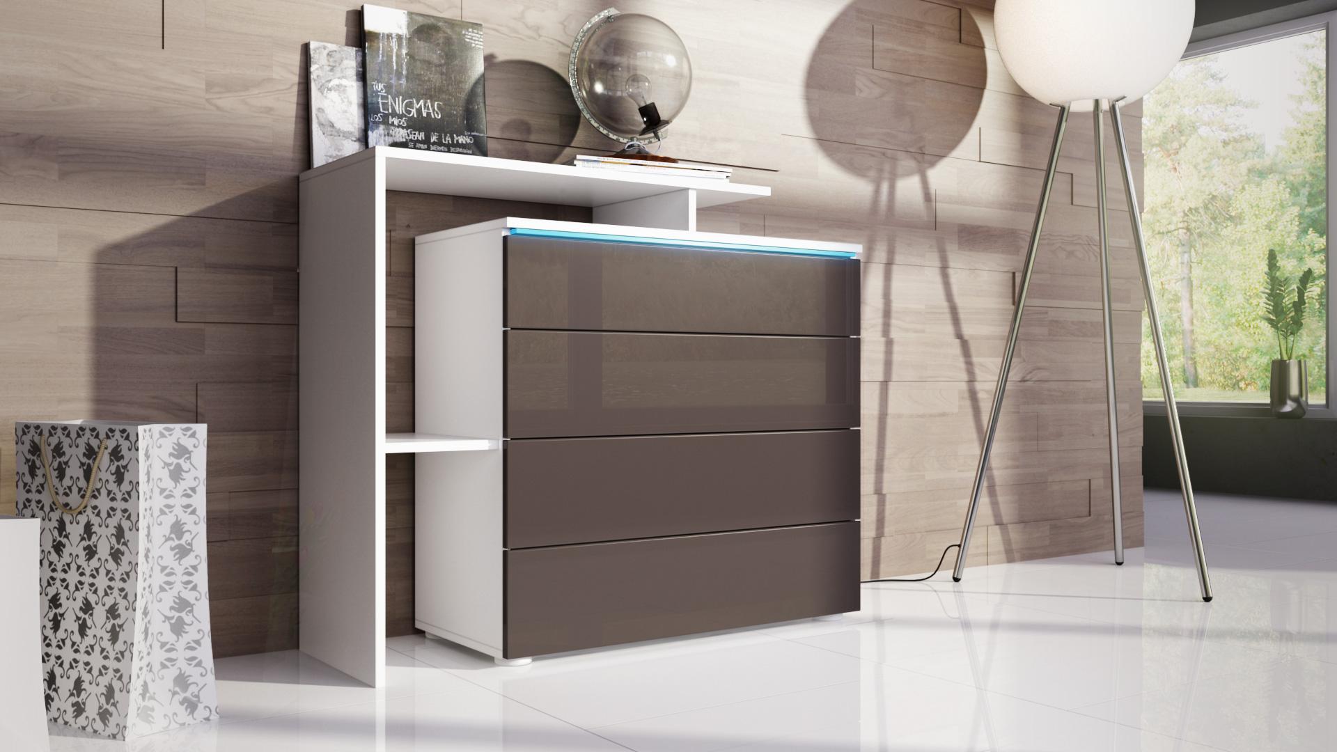 kommode schrank anrichte sideboard lissabon v2 in wei hochglanz naturt ne ebay. Black Bedroom Furniture Sets. Home Design Ideas
