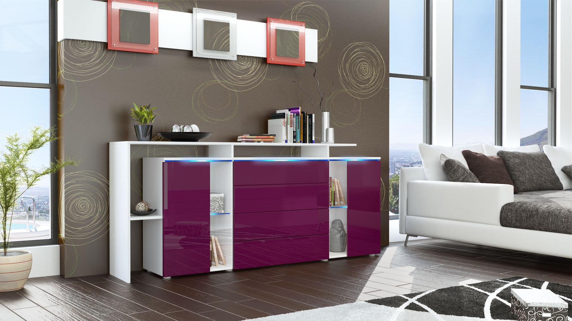 sideboard cabinet led lissabon v2 white matt high gloss. Black Bedroom Furniture Sets. Home Design Ideas