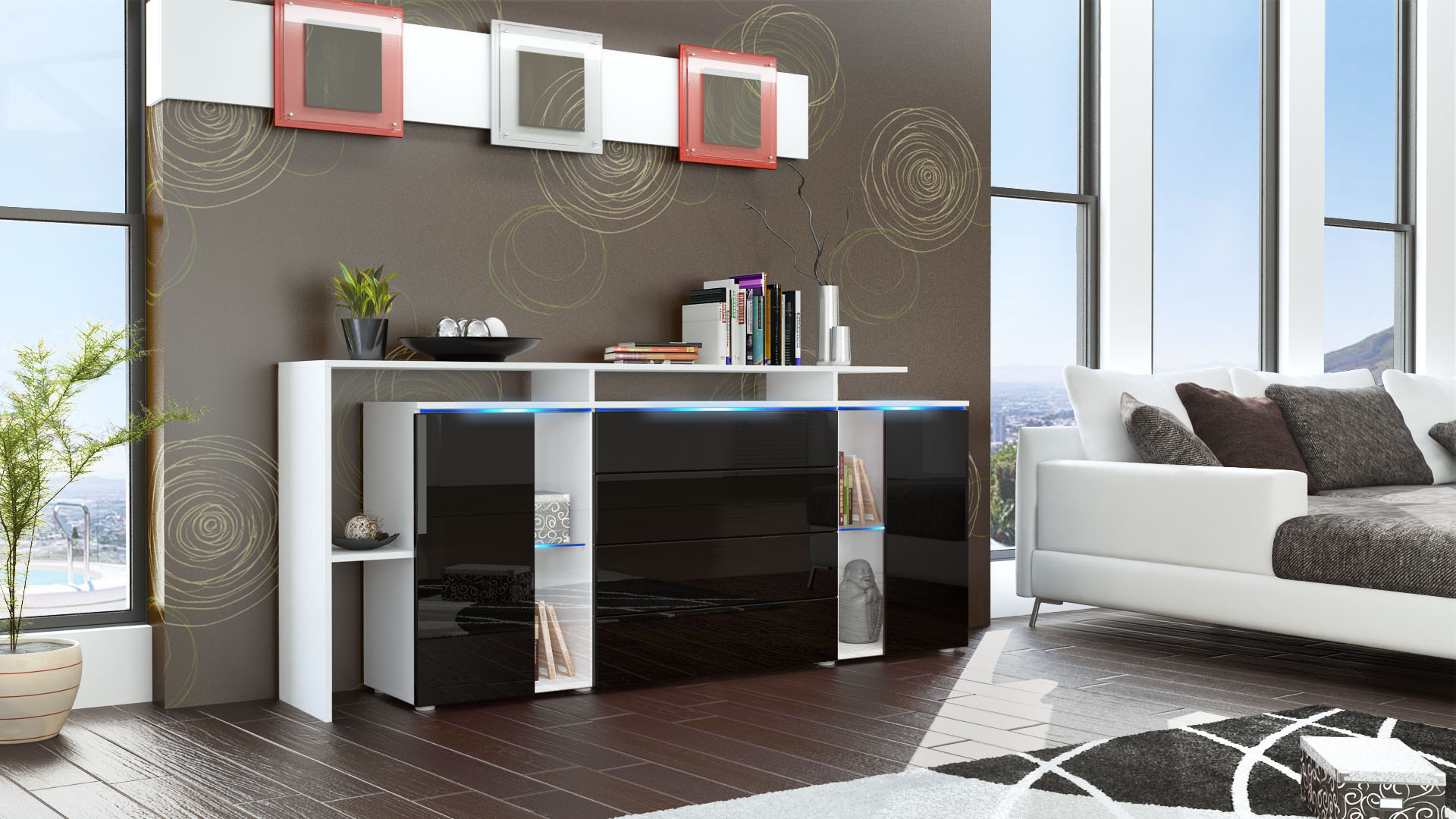 sideboard tv board anrichte kommode lissabon v2 wei in. Black Bedroom Furniture Sets. Home Design Ideas