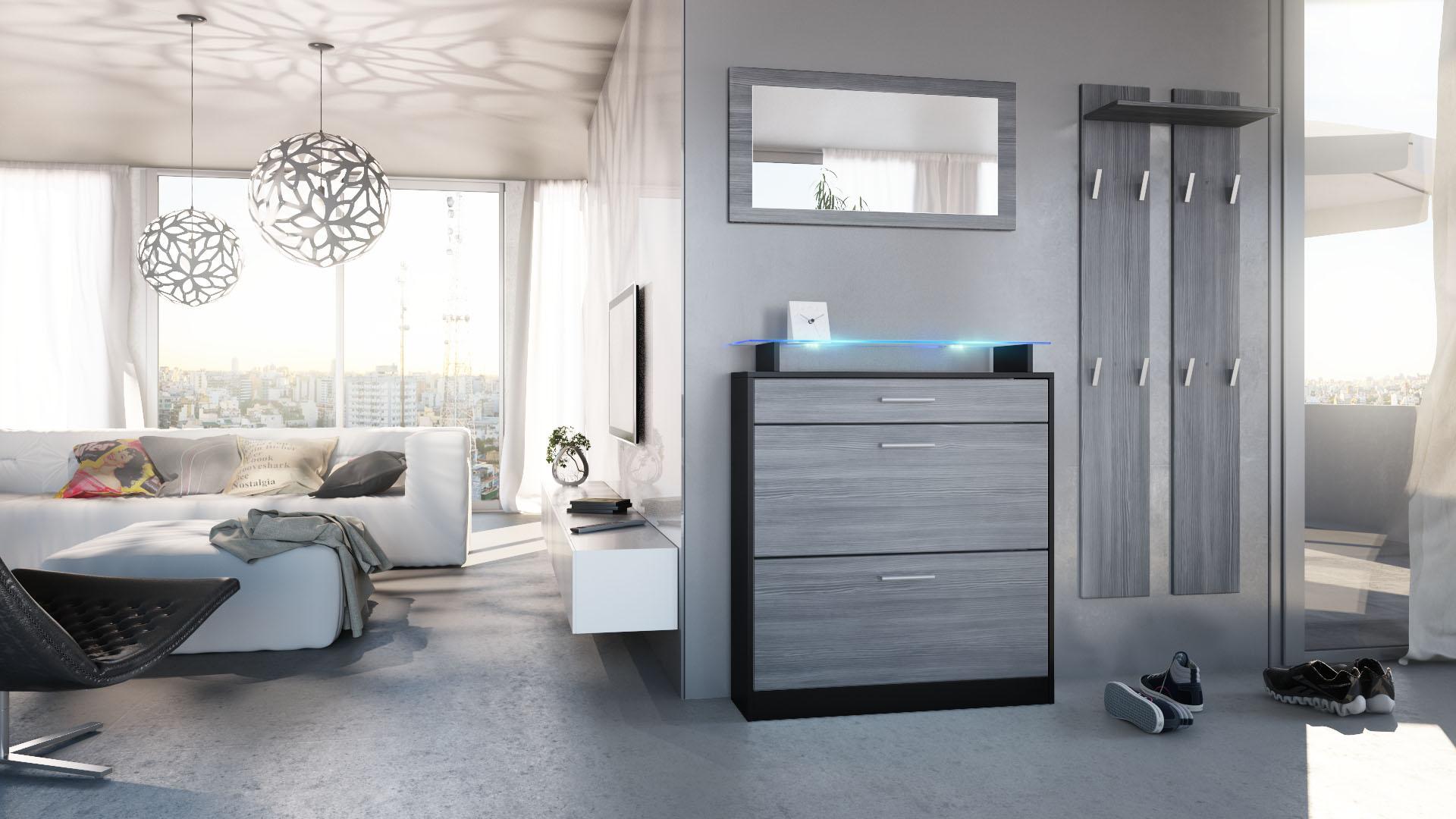 garderobenset garderobe schuhschrank loret mini schwarz hochglanz naturt ne ebay. Black Bedroom Furniture Sets. Home Design Ideas