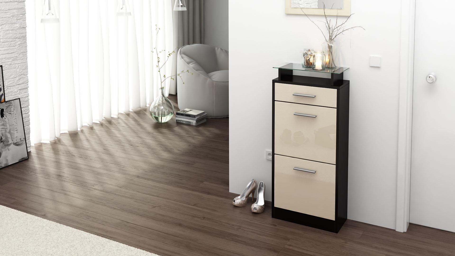 schuhschrank schuhkipper schuh loret v2 in schwarz hochglanz matt naturt ne. Black Bedroom Furniture Sets. Home Design Ideas