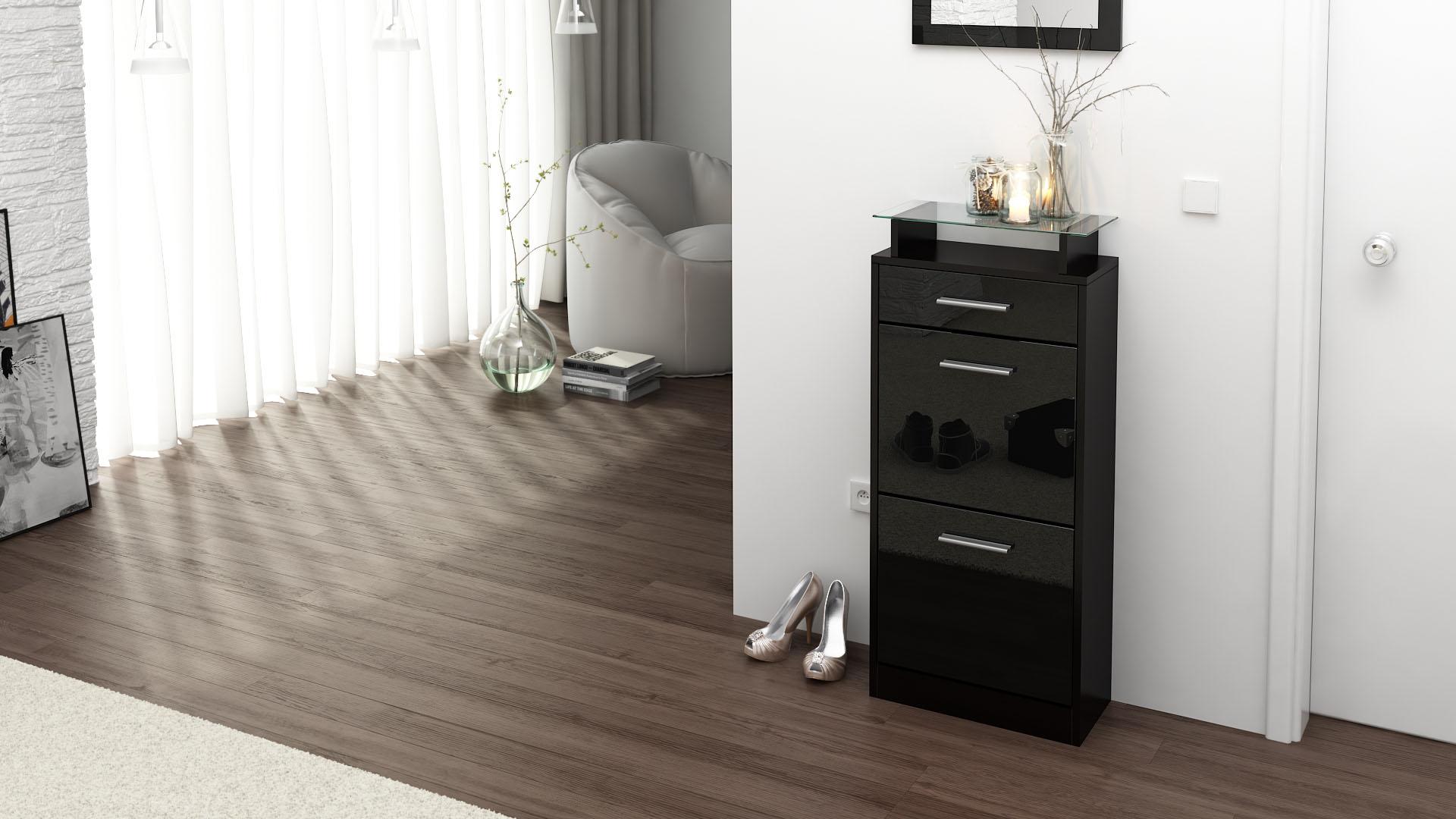 schuhschrank schuhkipper schuh loret v2 in schwarz. Black Bedroom Furniture Sets. Home Design Ideas