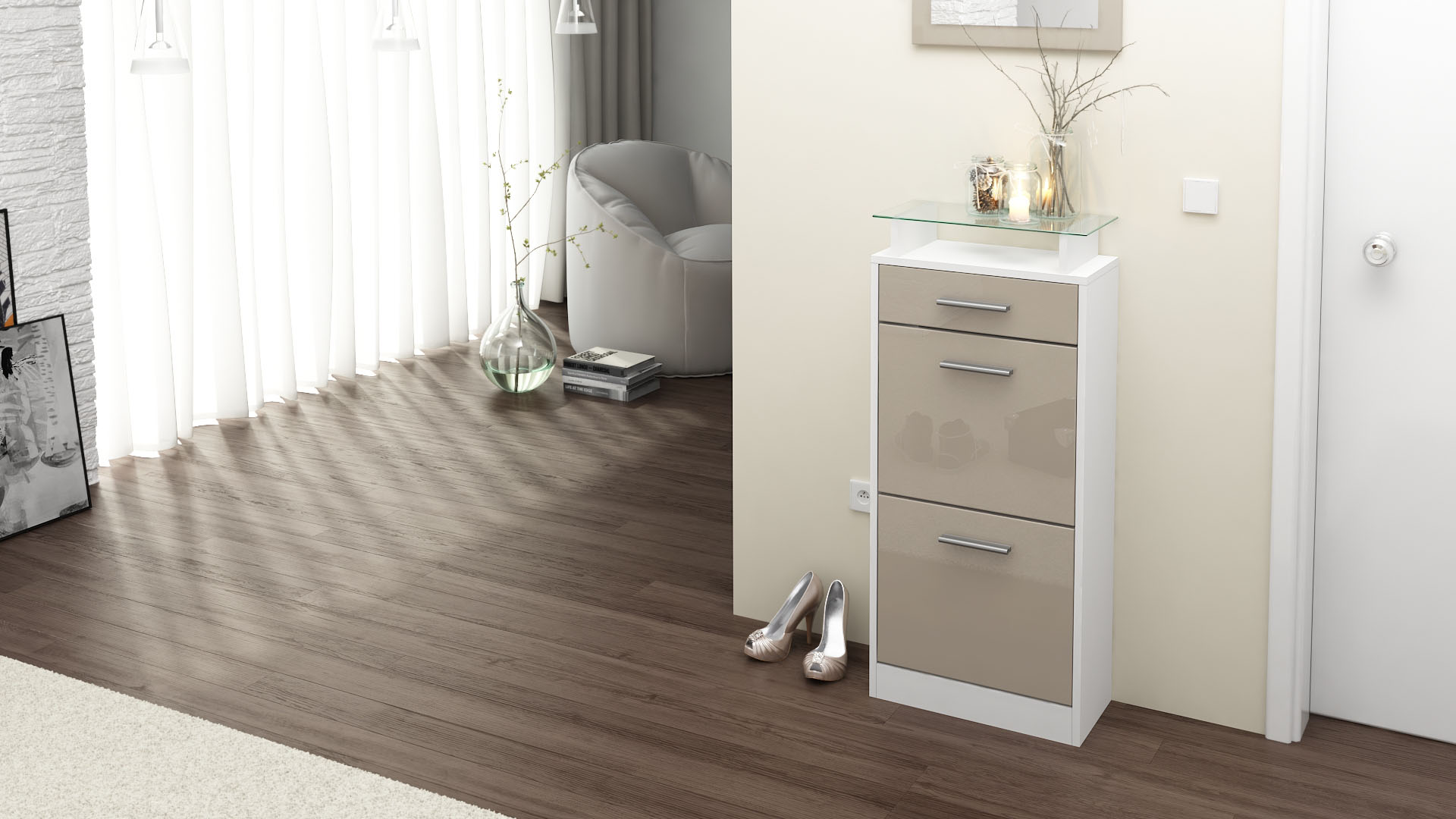 schuhschrank schuhkipper schuh regal loret v2 wei. Black Bedroom Furniture Sets. Home Design Ideas