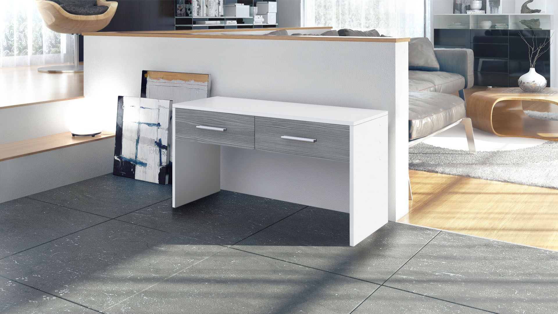 banc meuble de couloir espace luna en blanc fa ades en coloris divers ebay. Black Bedroom Furniture Sets. Home Design Ideas