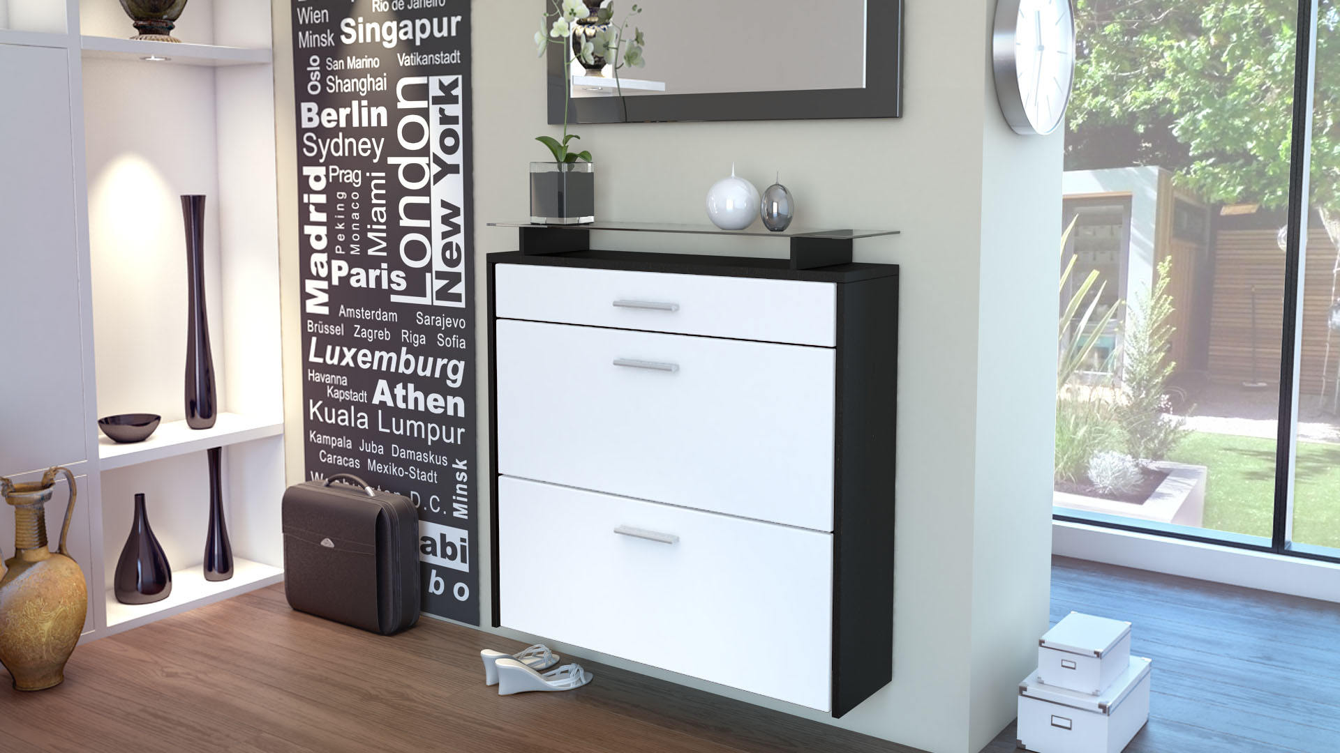 schuhschrank schuhkipper h ngeschuhschrank malea schwarz hochglanz naturt ne ebay. Black Bedroom Furniture Sets. Home Design Ideas
