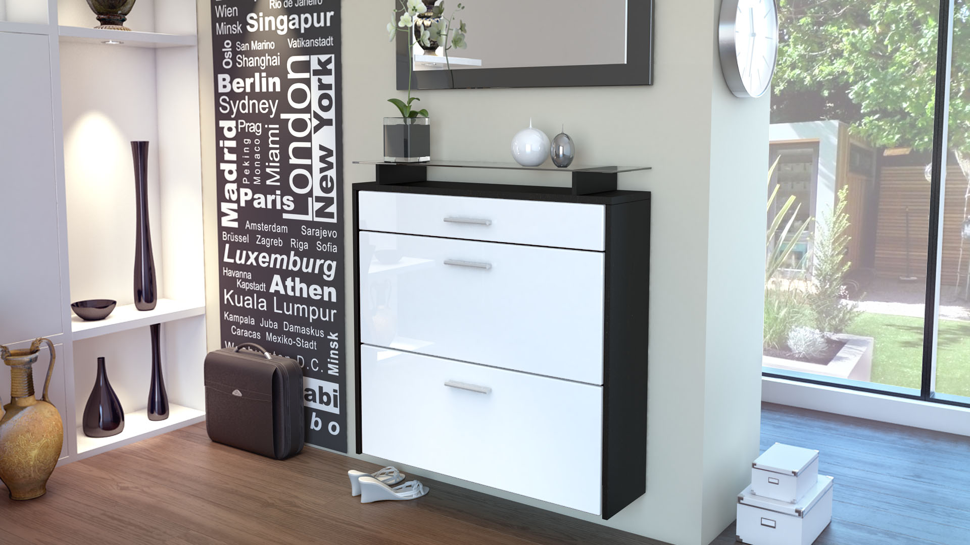 schuhschrank schuhkipper h nge schuhschrank malea schwarz hochglanz naturt ne ebay. Black Bedroom Furniture Sets. Home Design Ideas