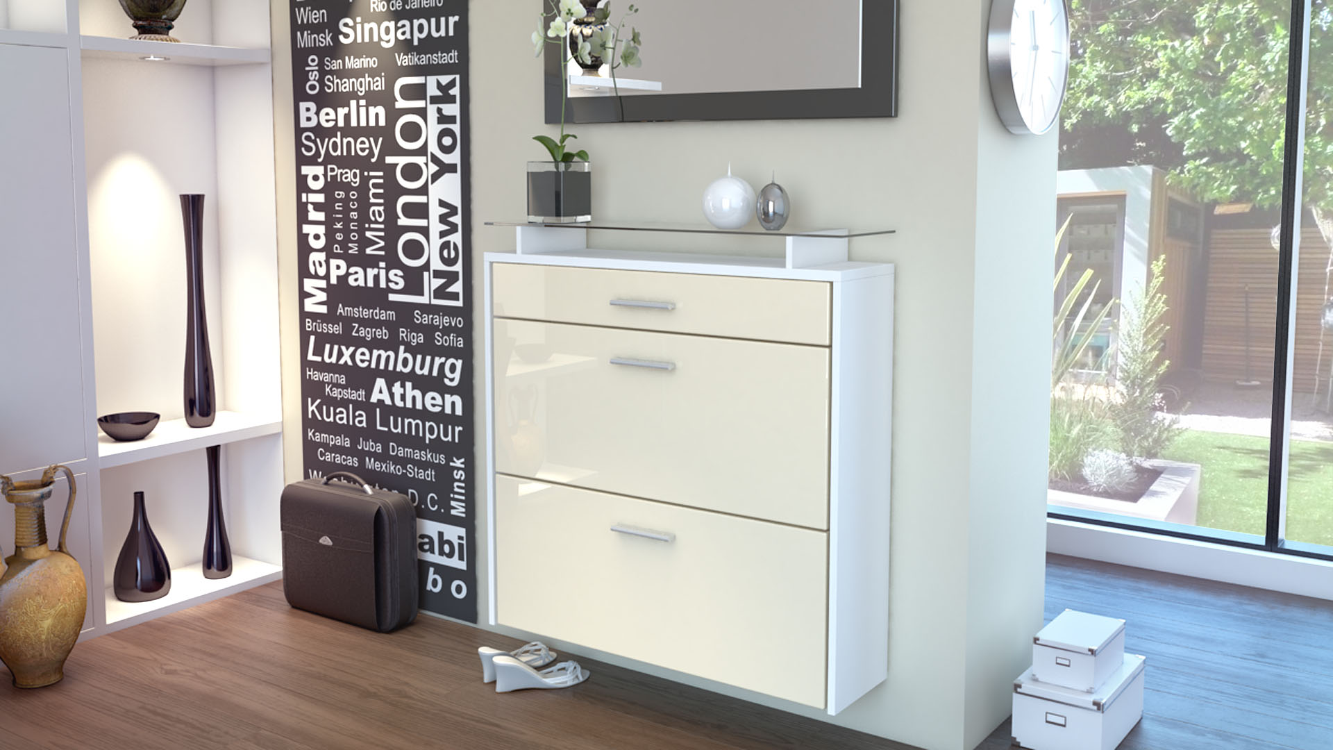 schuhschrank schuhkipper h ngeschuhschrank malea in wei hochglanz naturt ne ebay. Black Bedroom Furniture Sets. Home Design Ideas