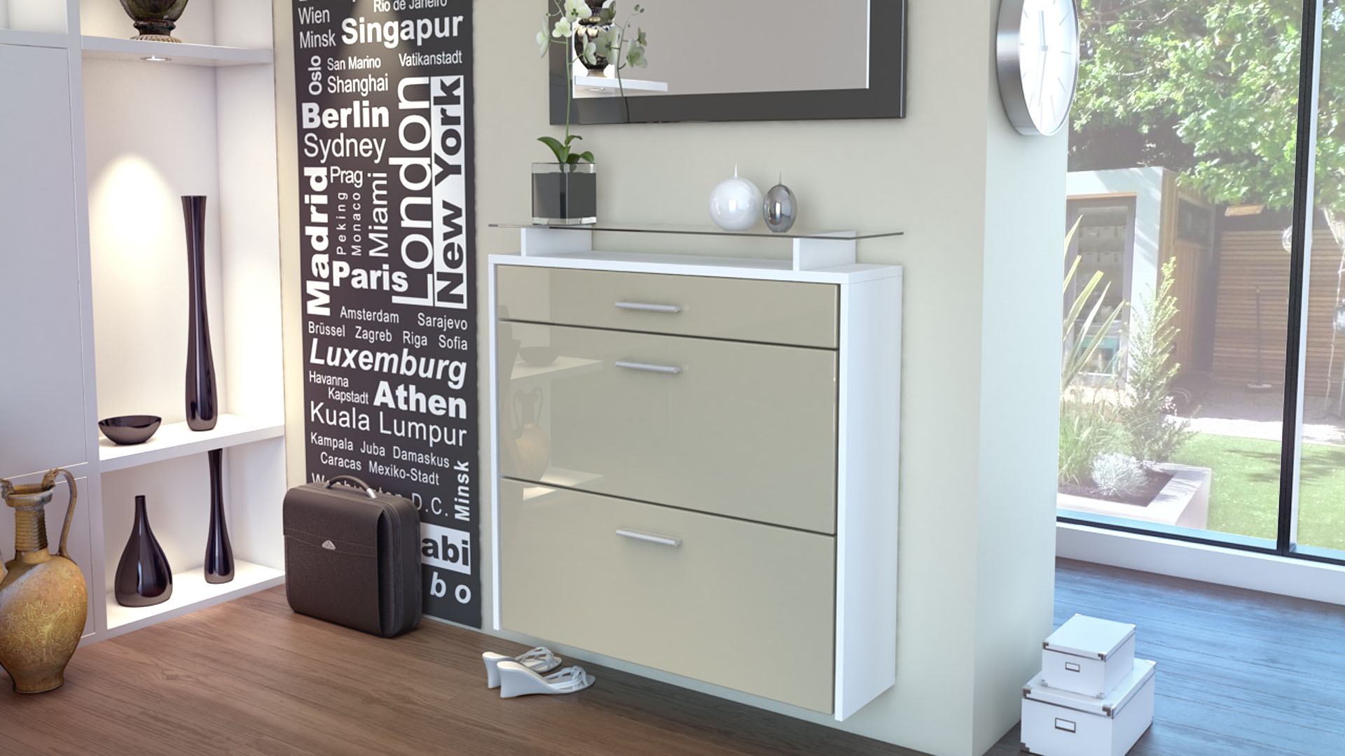 schuhschrank schuhkipper h nge schuhschrank malea wei hochglanz naturt ne ebay. Black Bedroom Furniture Sets. Home Design Ideas