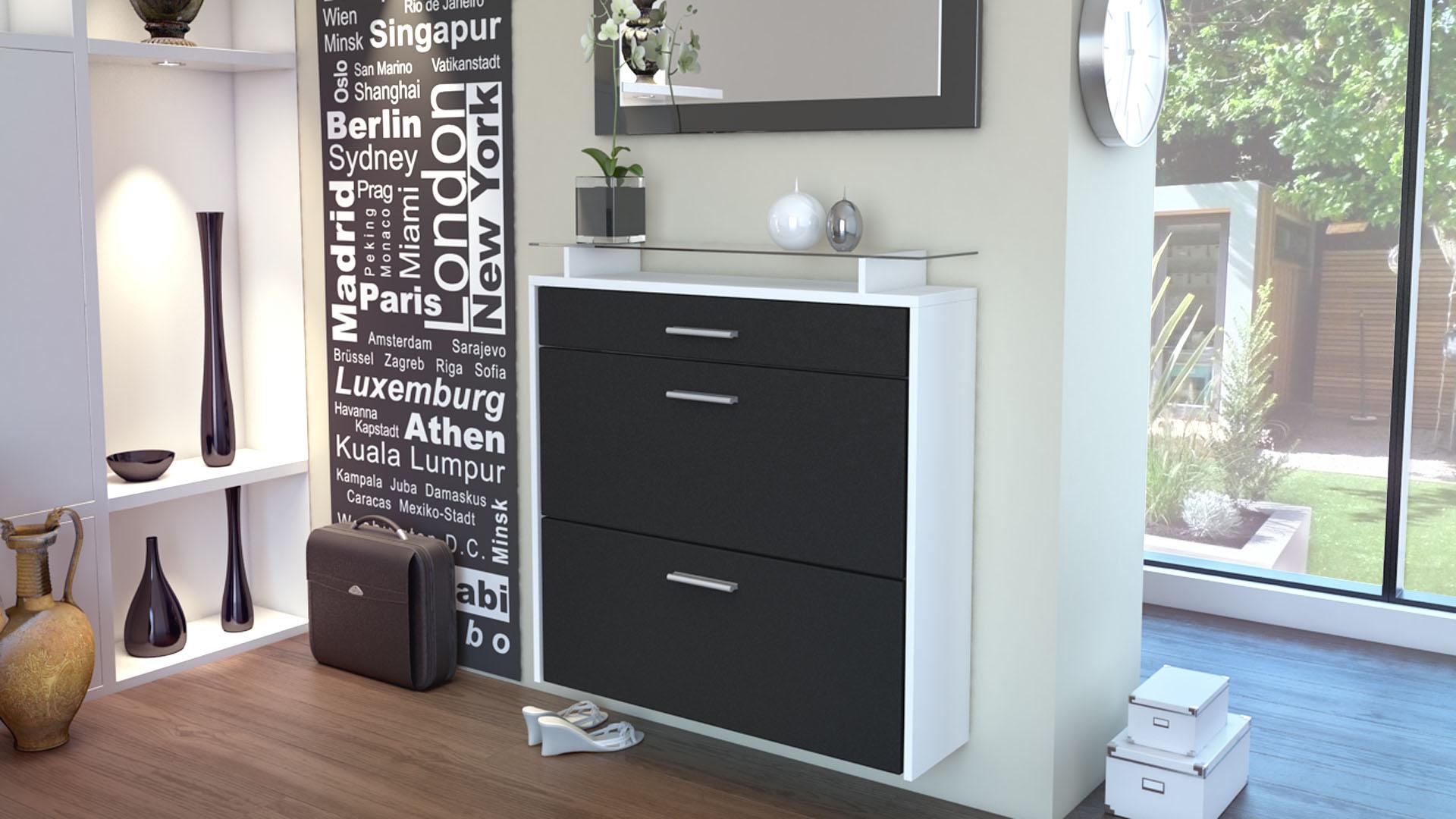 shoe storage rack hanging cabinet malea in white high. Black Bedroom Furniture Sets. Home Design Ideas