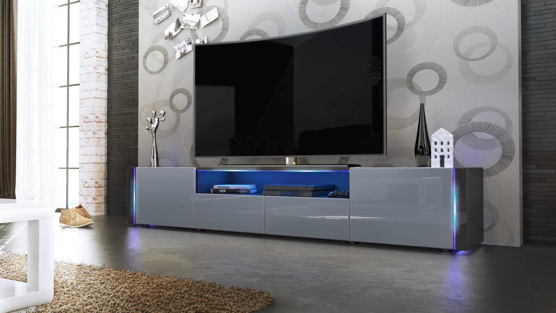 tv lowboard board schrank tisch marino v2 in schwarz hochglanz amp. Black Bedroom Furniture Sets. Home Design Ideas