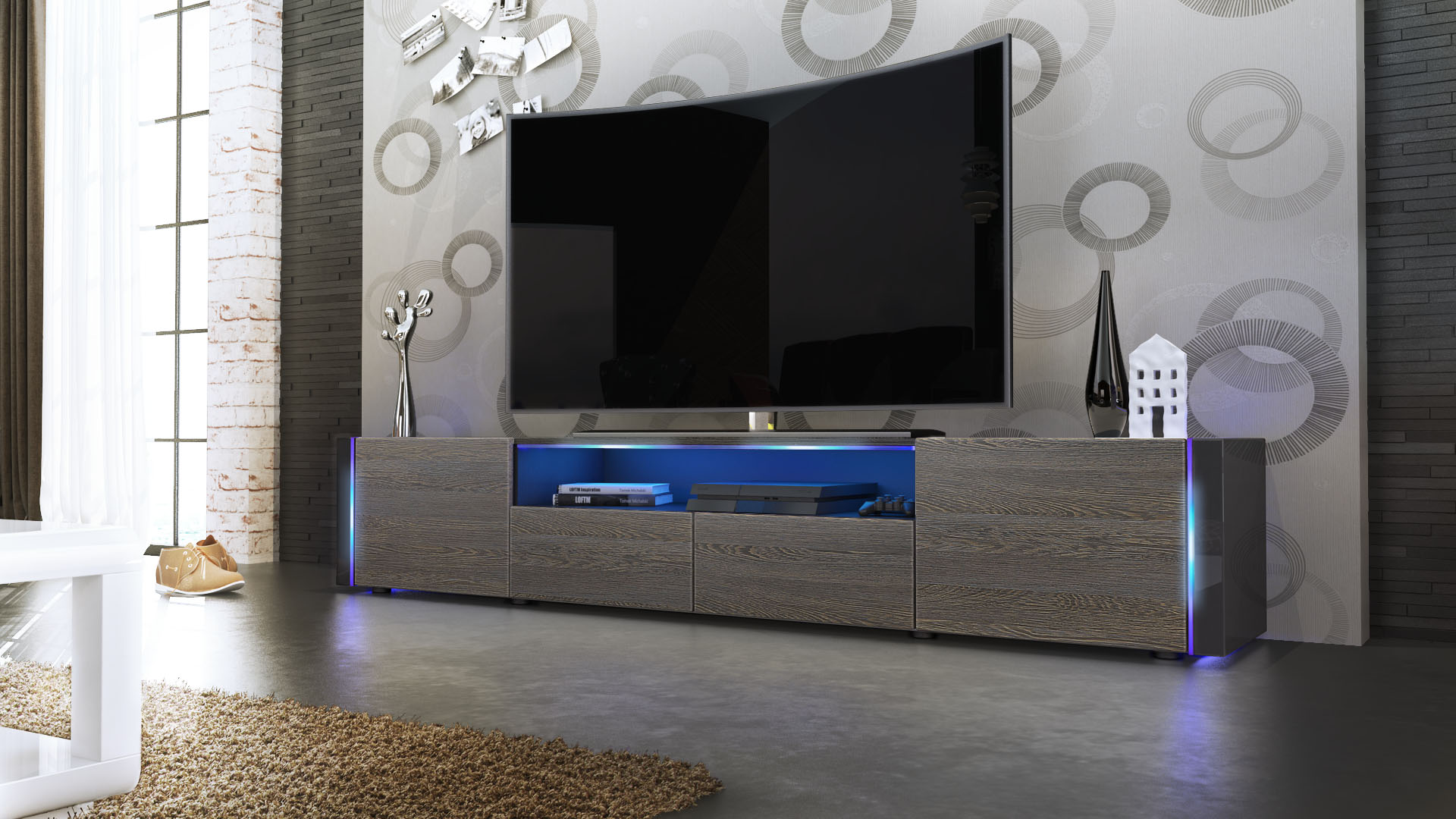 tv stand unit lowboard cabinet marino v2 black high. Black Bedroom Furniture Sets. Home Design Ideas