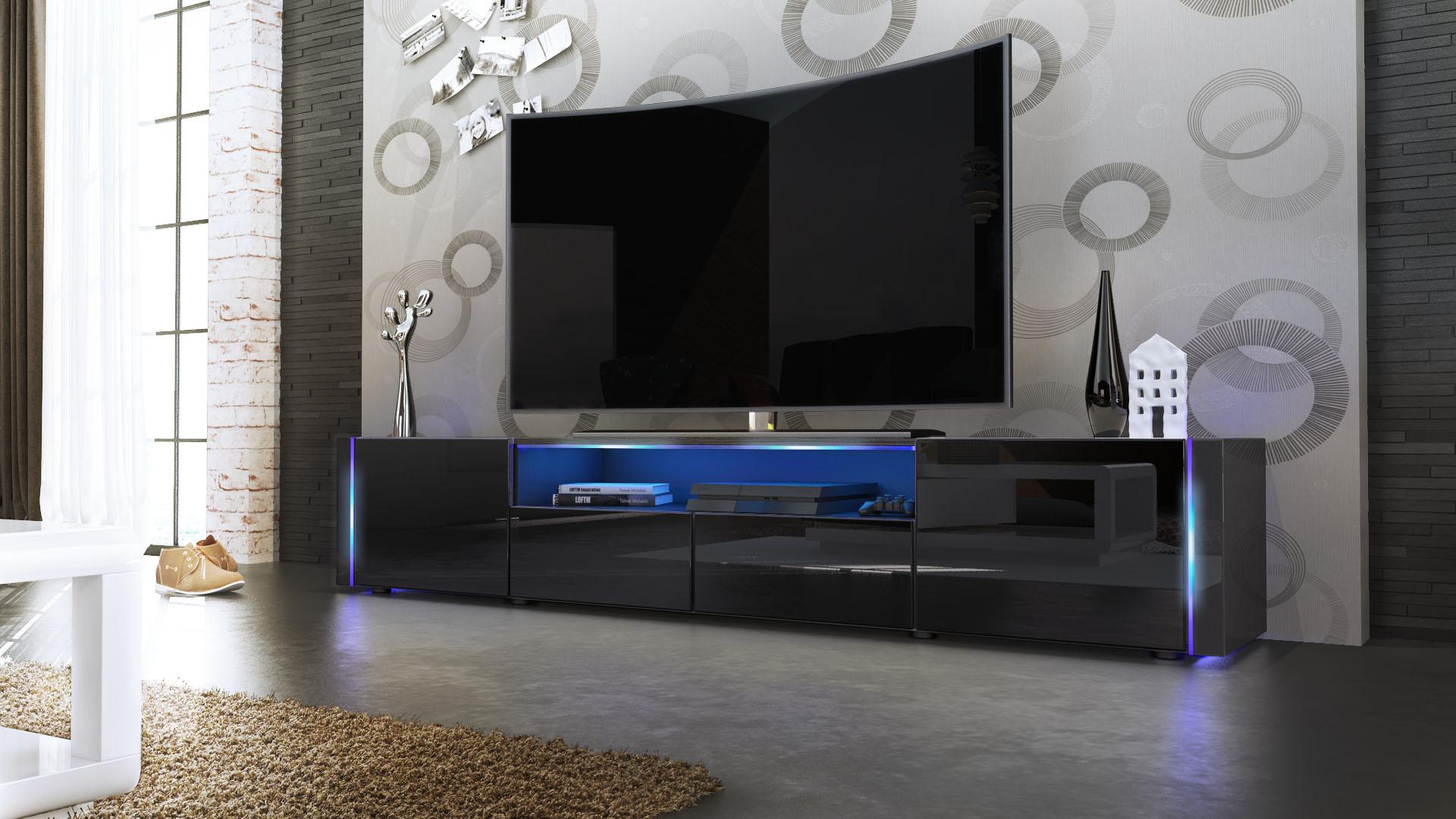 Tv Lowboard Board Schrank Tisch Marino V In Schwarz Hochglanz Naturtne With  Hochglanz Tv Board